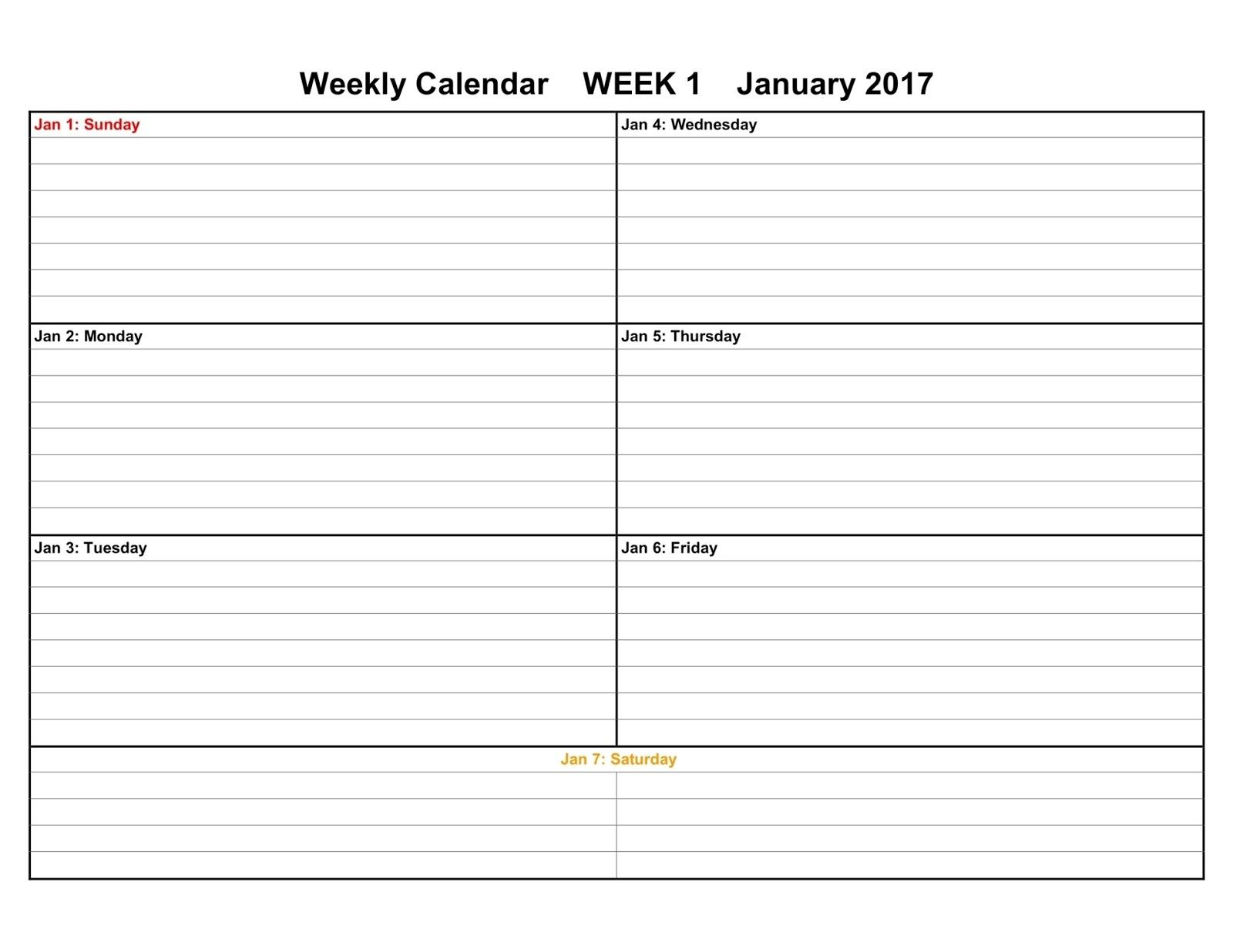 005 Template Ideas Weekly Calendar Sensational 2017