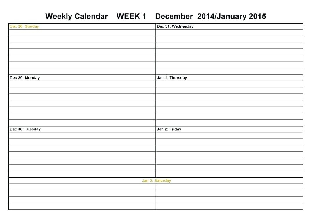 006 Two Week Calendar Template Weekly Blank Page Word Cute