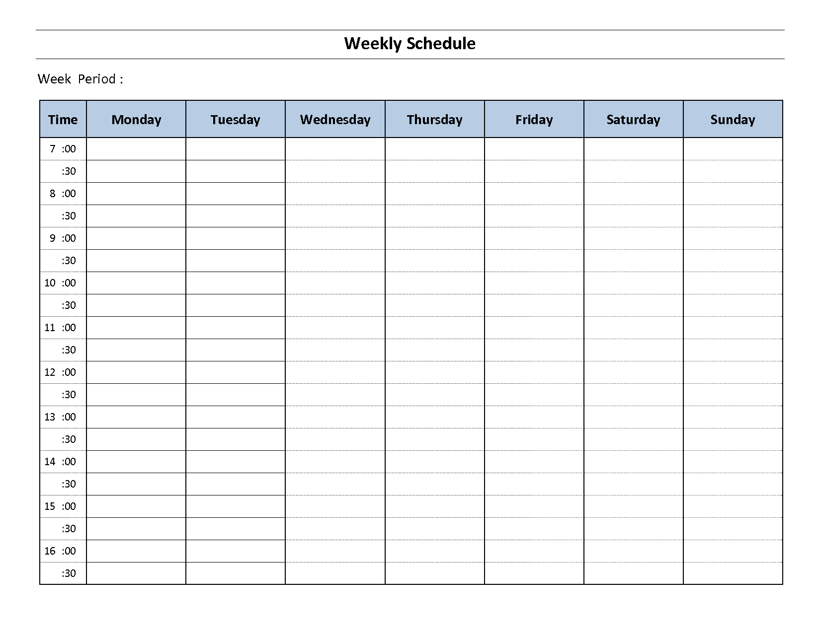 012 Template Ideas One Week Schedule For The Excellent