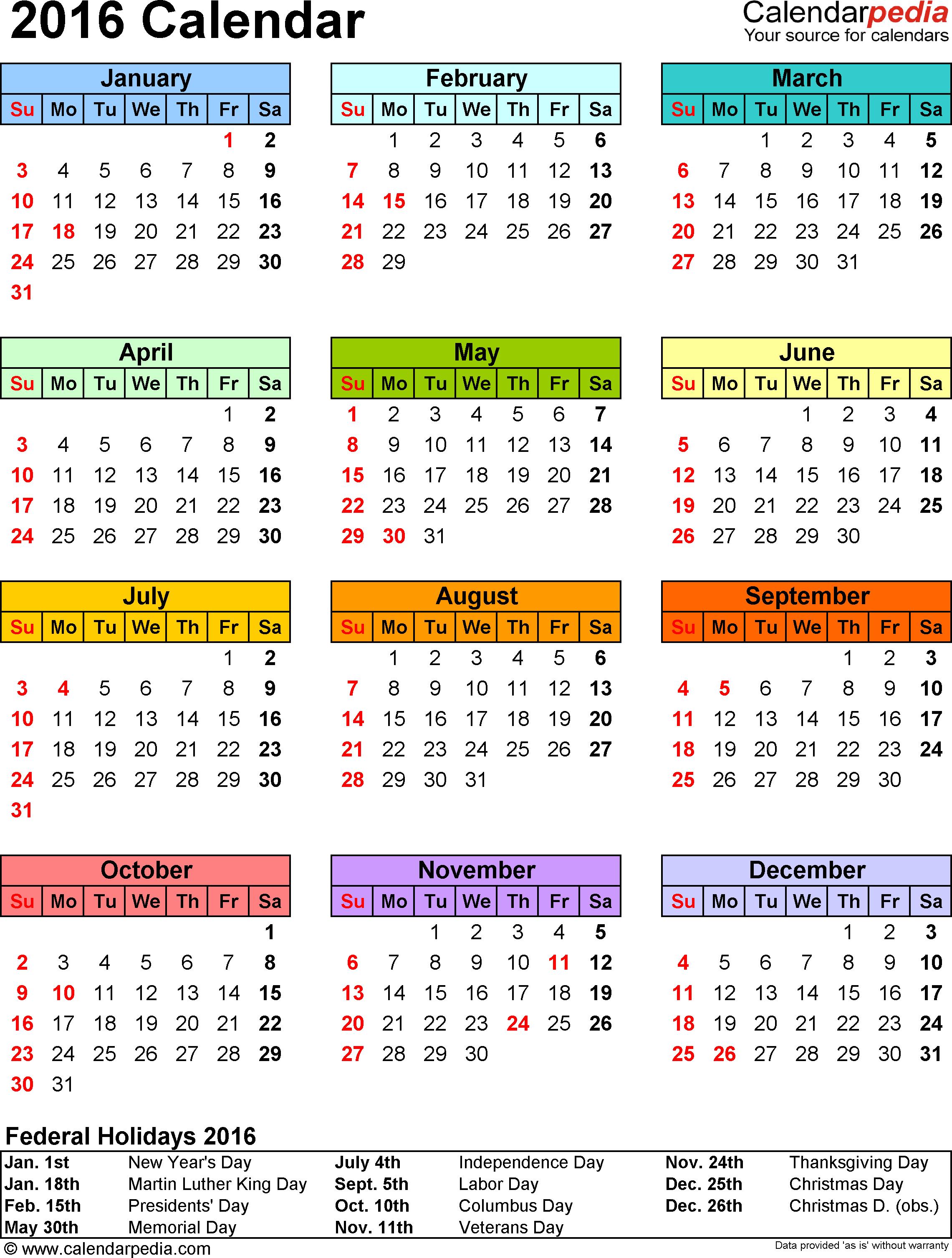 018 Template Ideas Free Calendar Surprising 2016 Printable