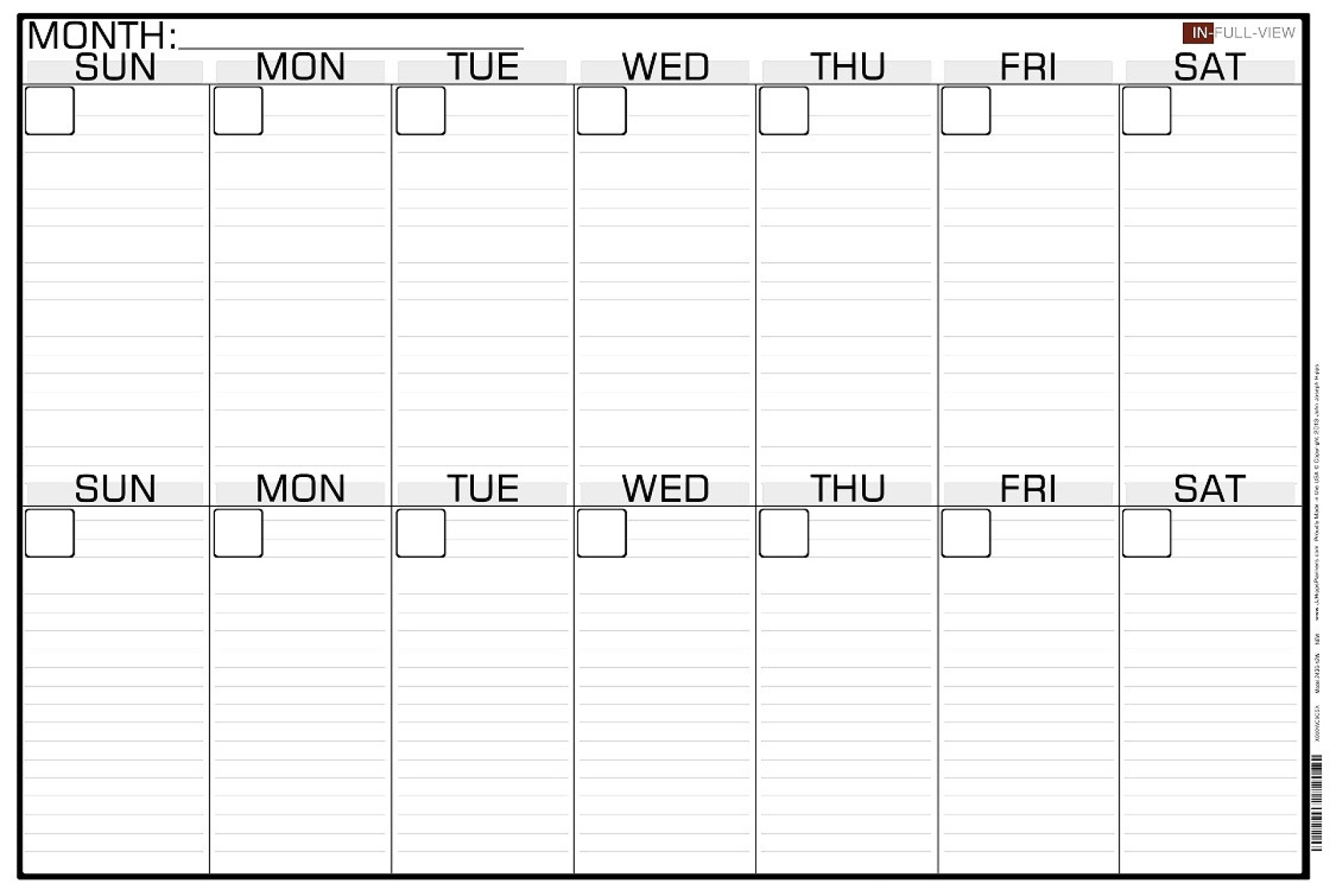 032 Template Ideas Two Week Calendar Print Blank Singular 2
