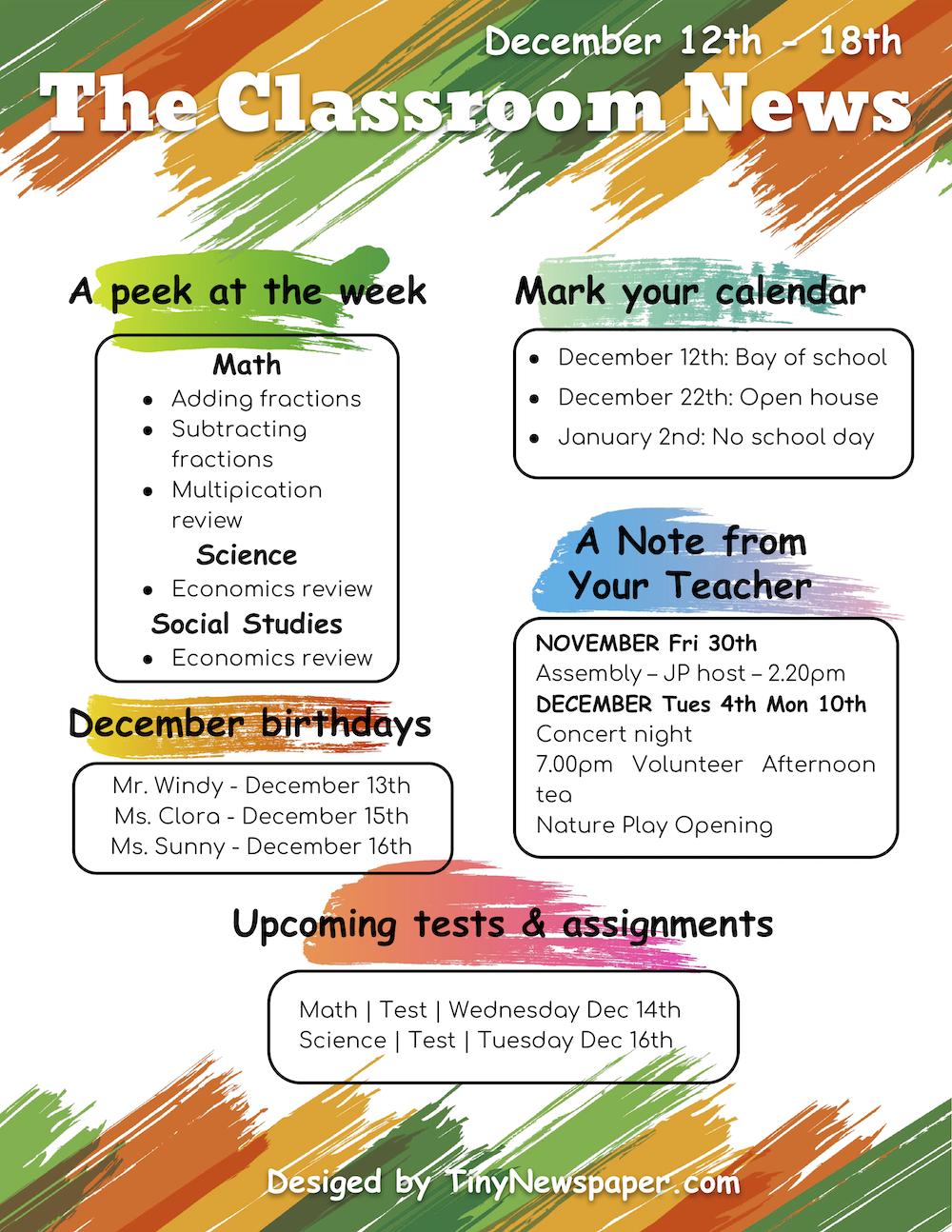 039 School Newsletter Template Google Docs Free Pre K