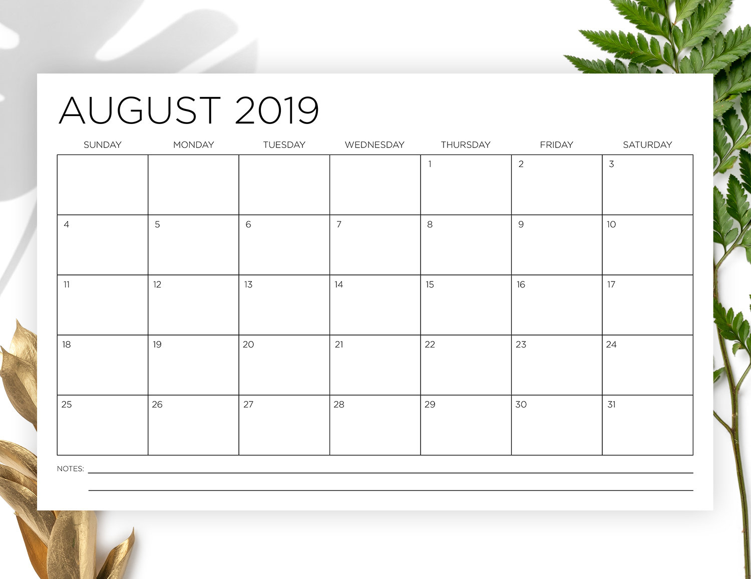 11 X 17 Inch 2019-2020 Calendar Template | Instant Download | Thin Sans  Serif Type Monthly Printable Minimal Wall Calender | Print Ready