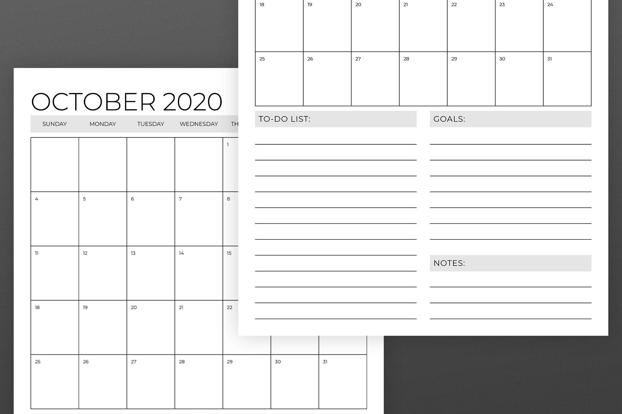 11X17 Printable Calendar 2020 | Monthly Printable Calender