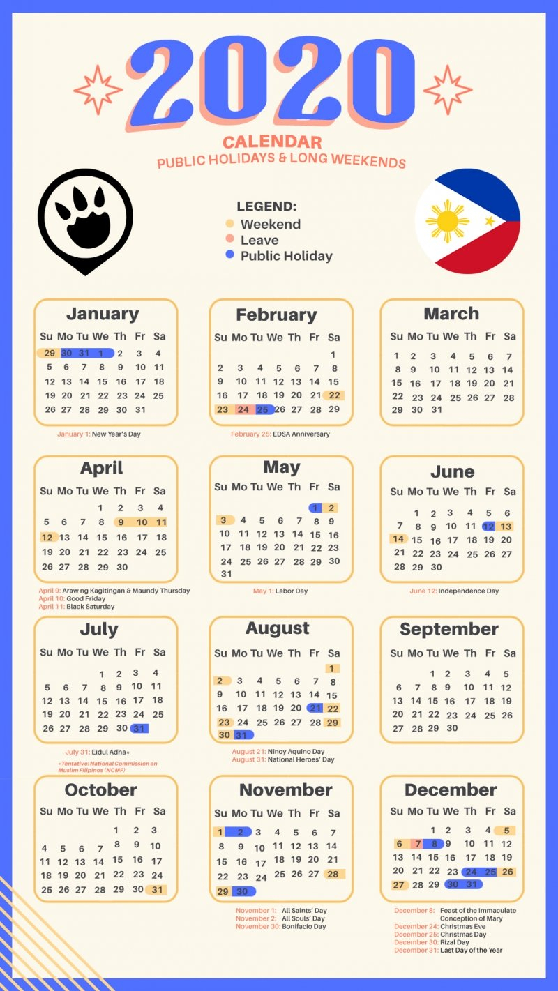 13 Long Weekends In The Philippines In 2020 + Calendar And