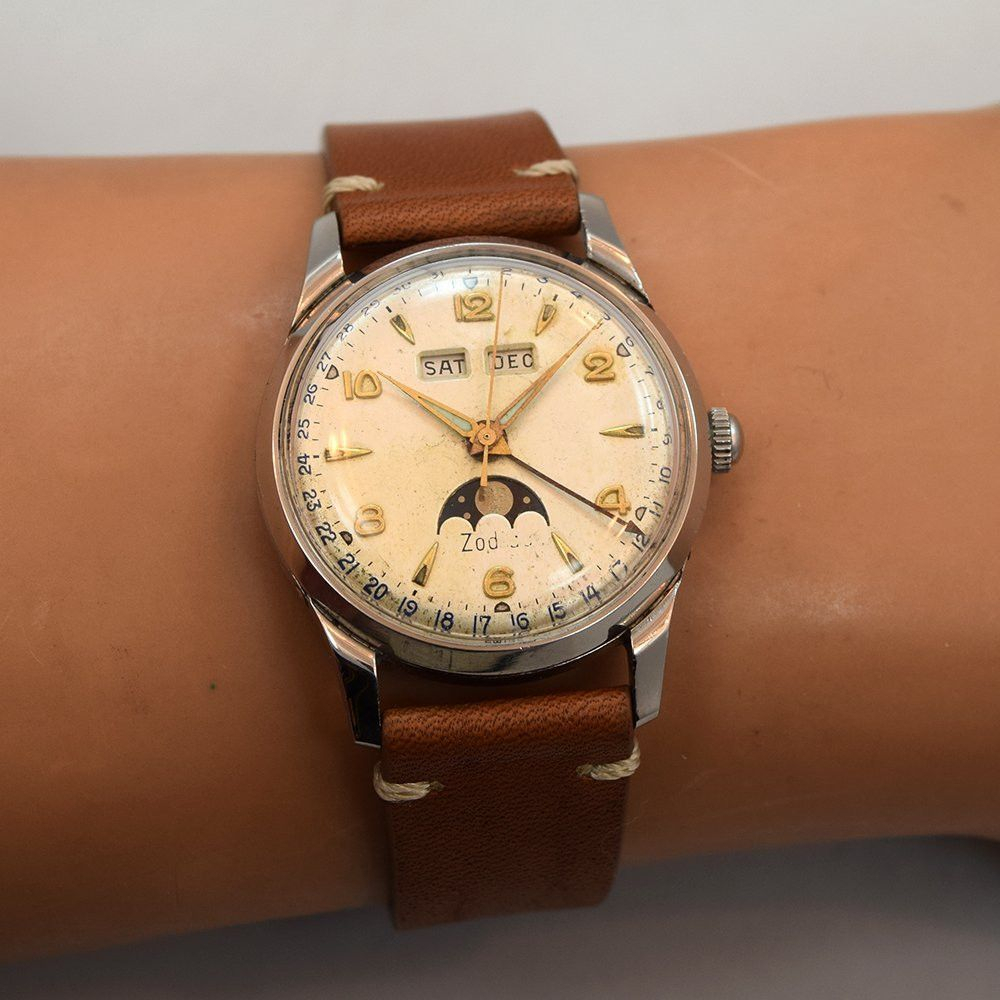 1950's Vintage Zodiac Very Early Stainless Steel Triple Date