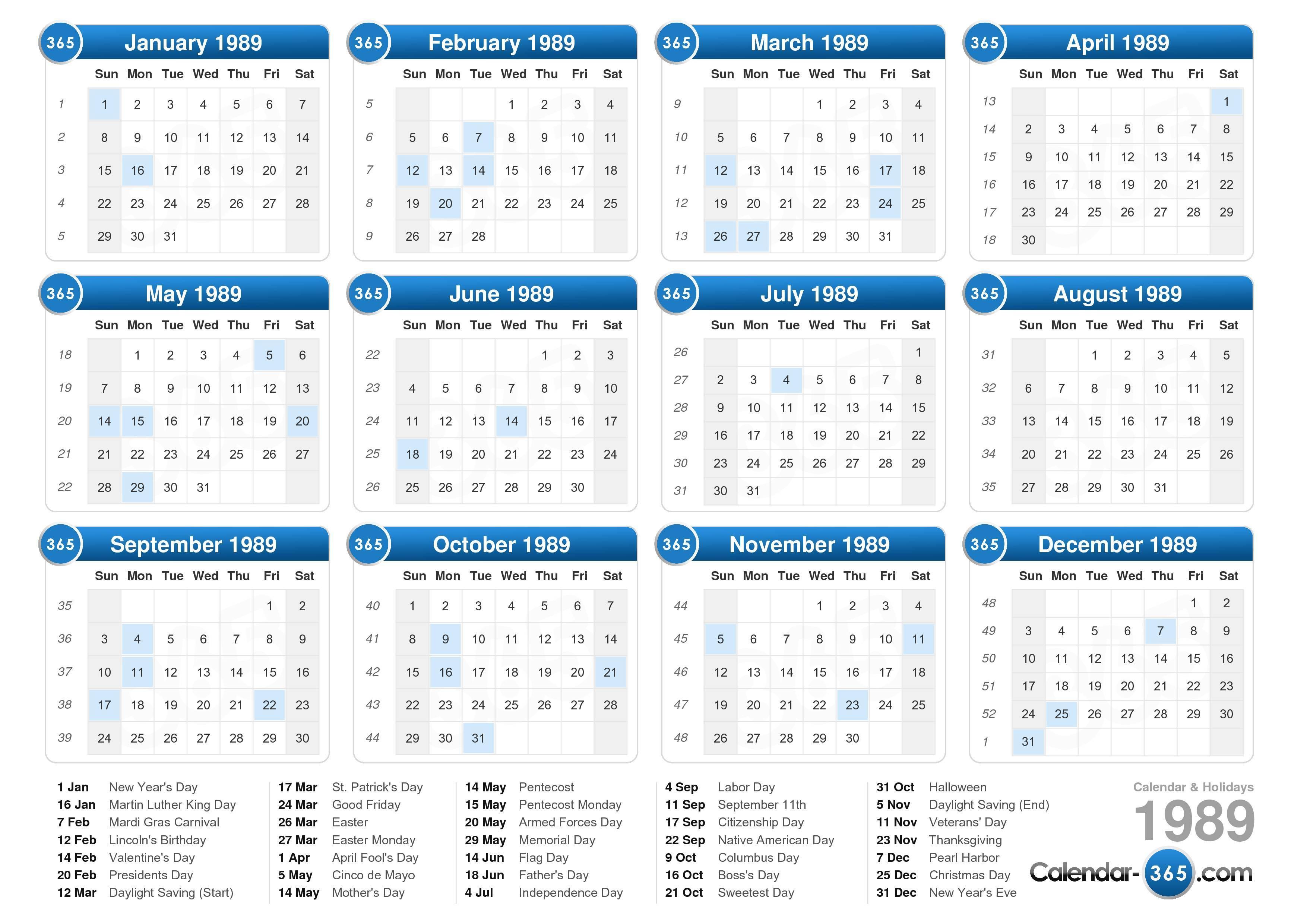 1989 Calendar