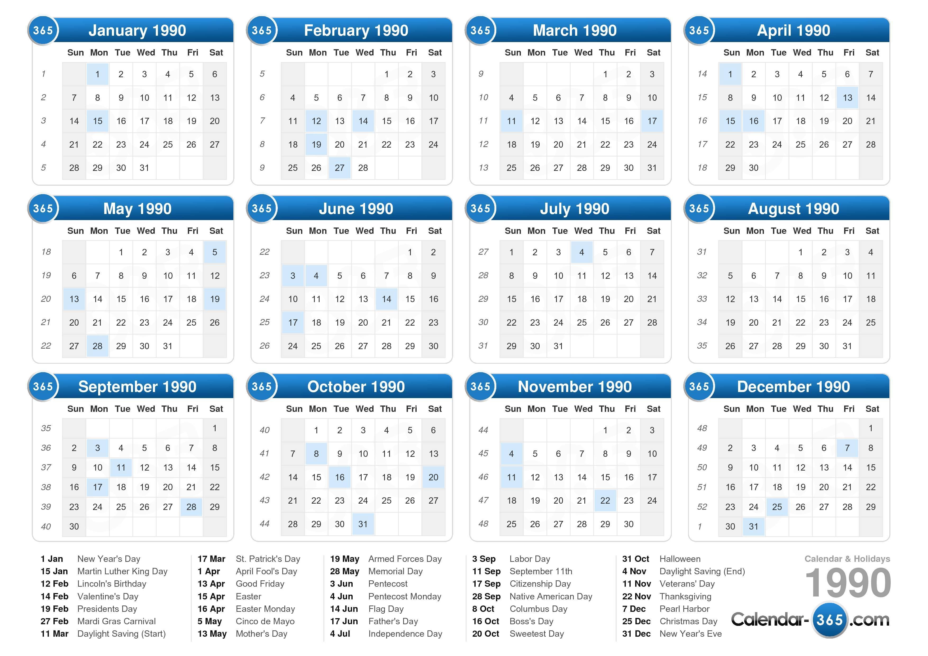 1990 Calendar