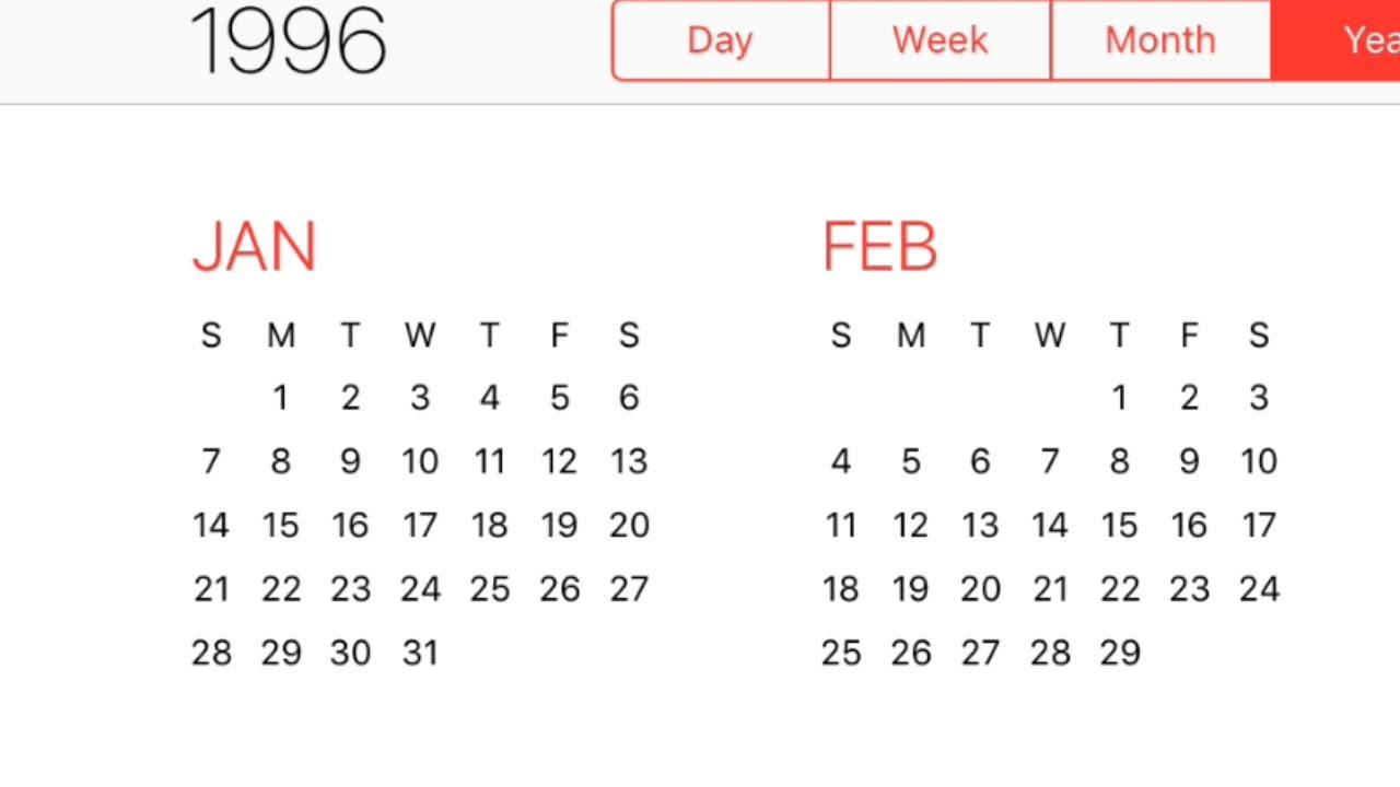 1996 Calendar
