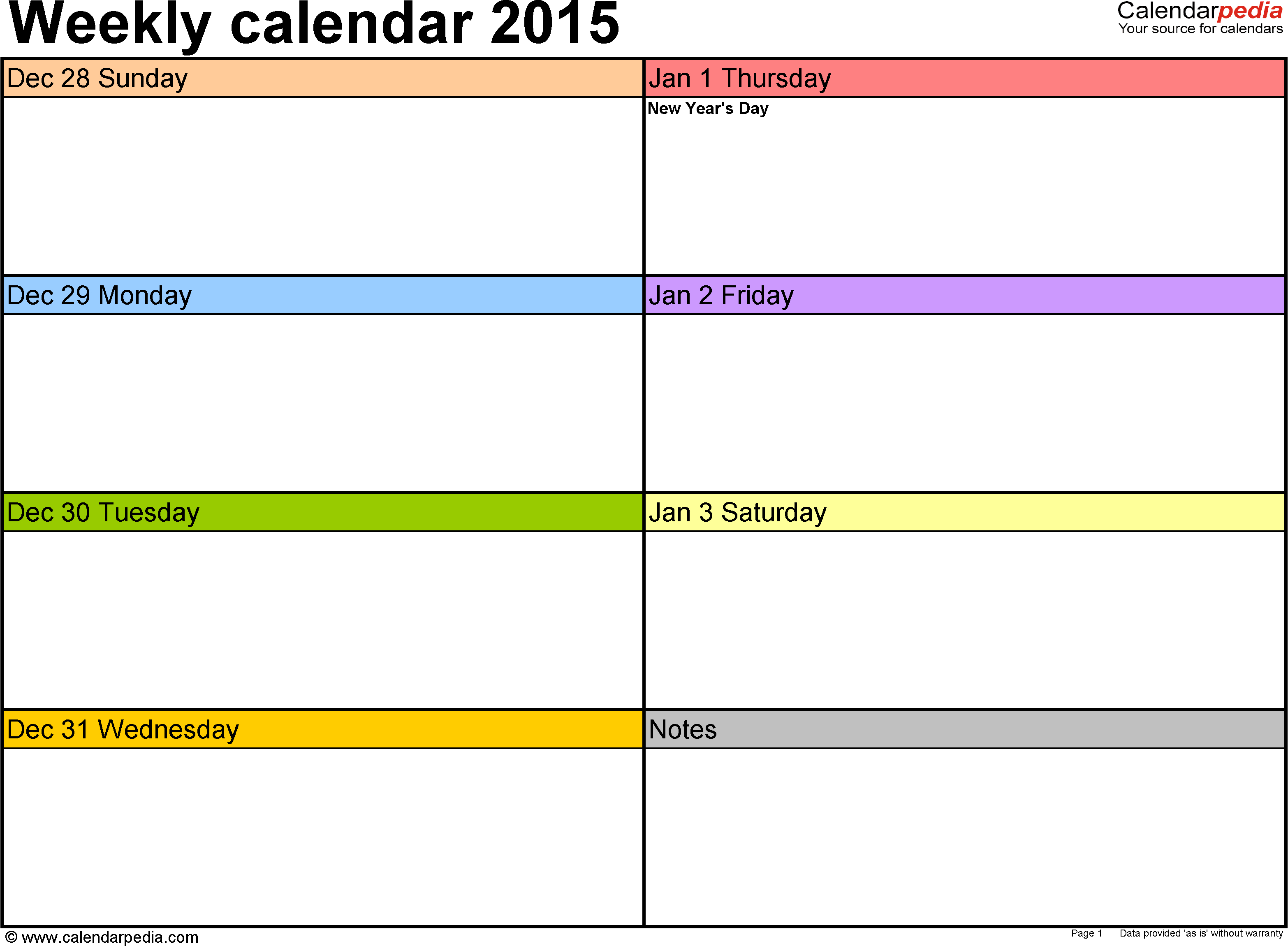 2 Page Weekly Calendar Template - Wpa.wpart.co