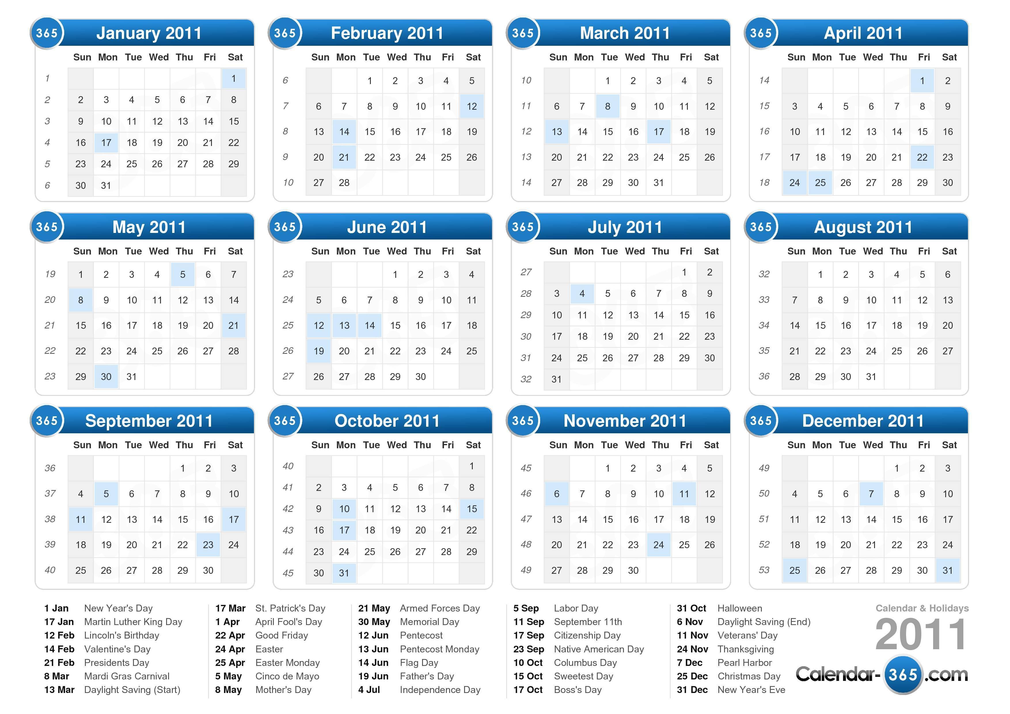 Year Calendar For 2011
