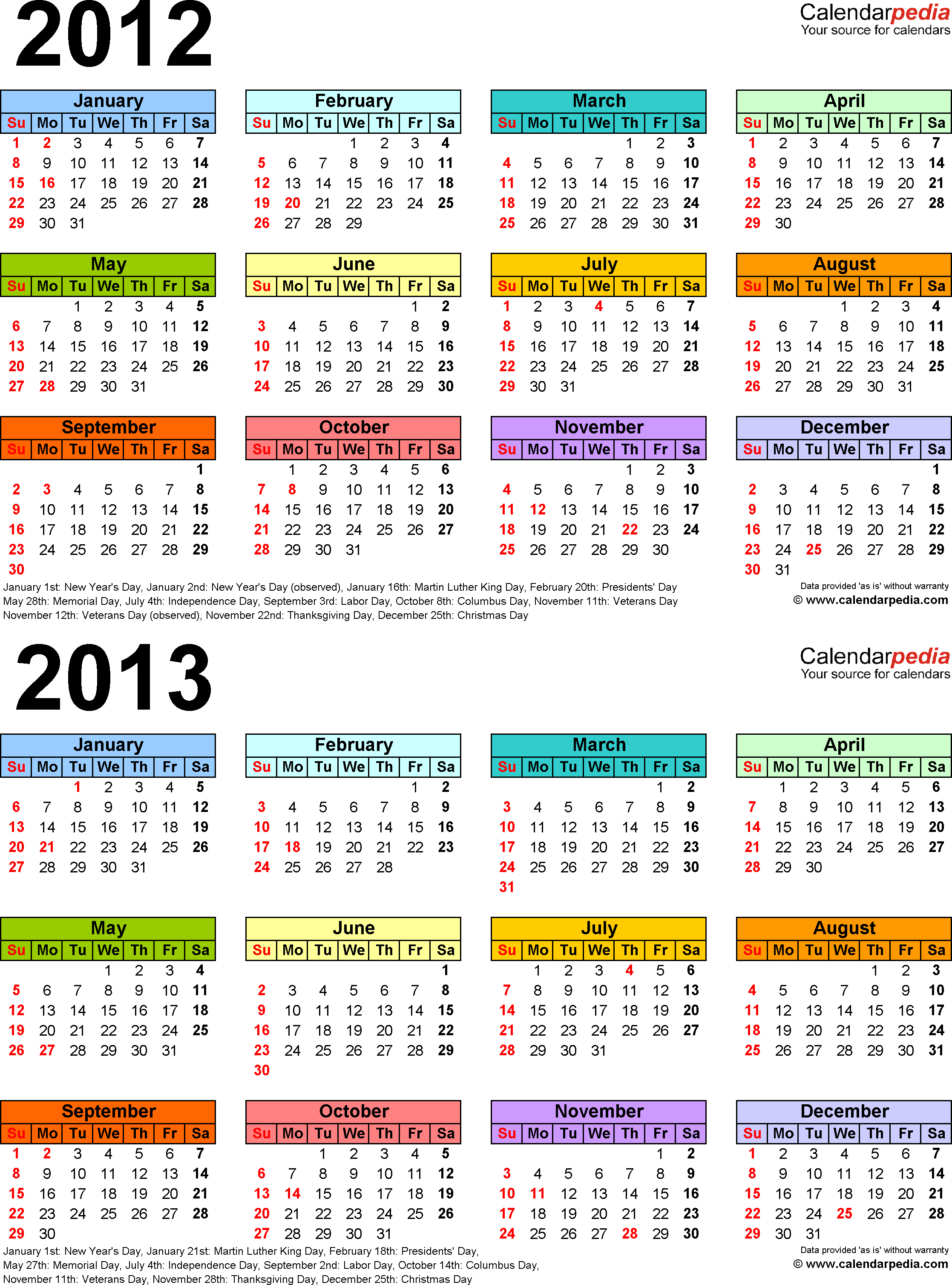 2012 2013 Calendar Free Printable Two Year Word Calendars