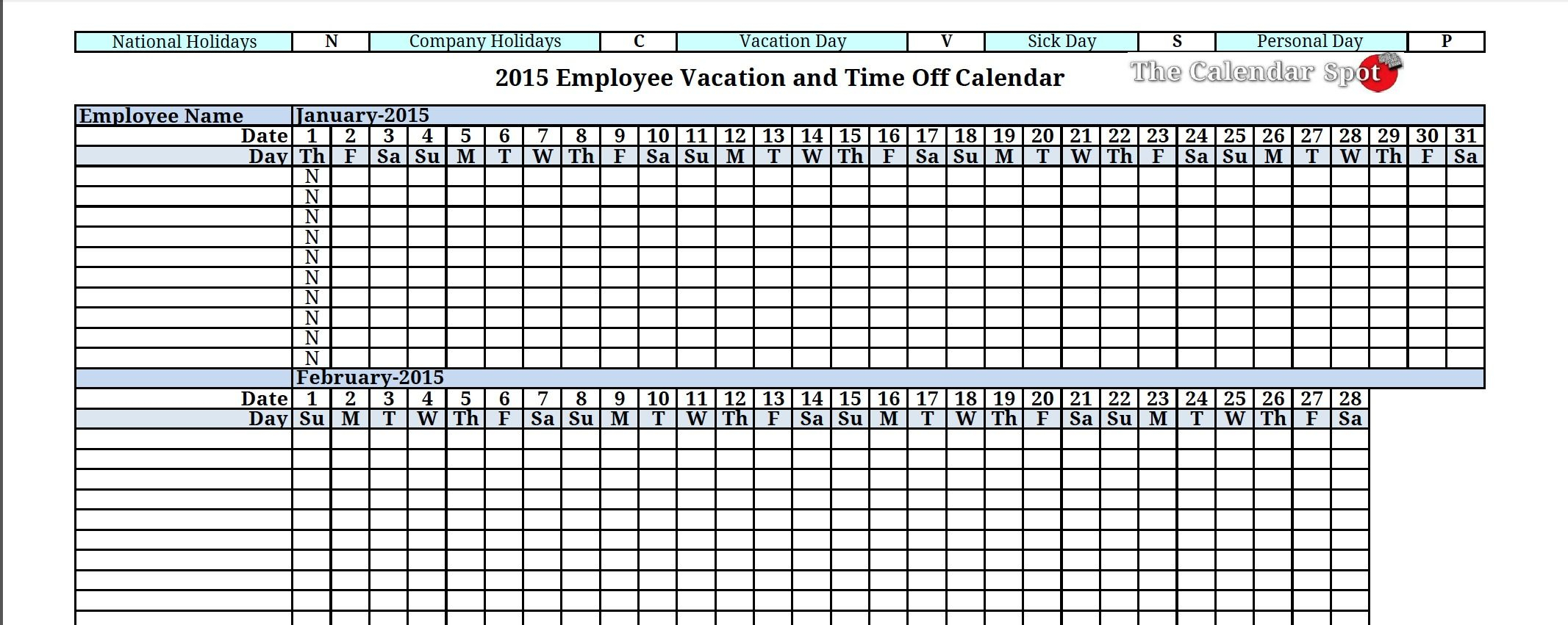 2015 Employee Vacation Absence Tracking Calendar   Vacation