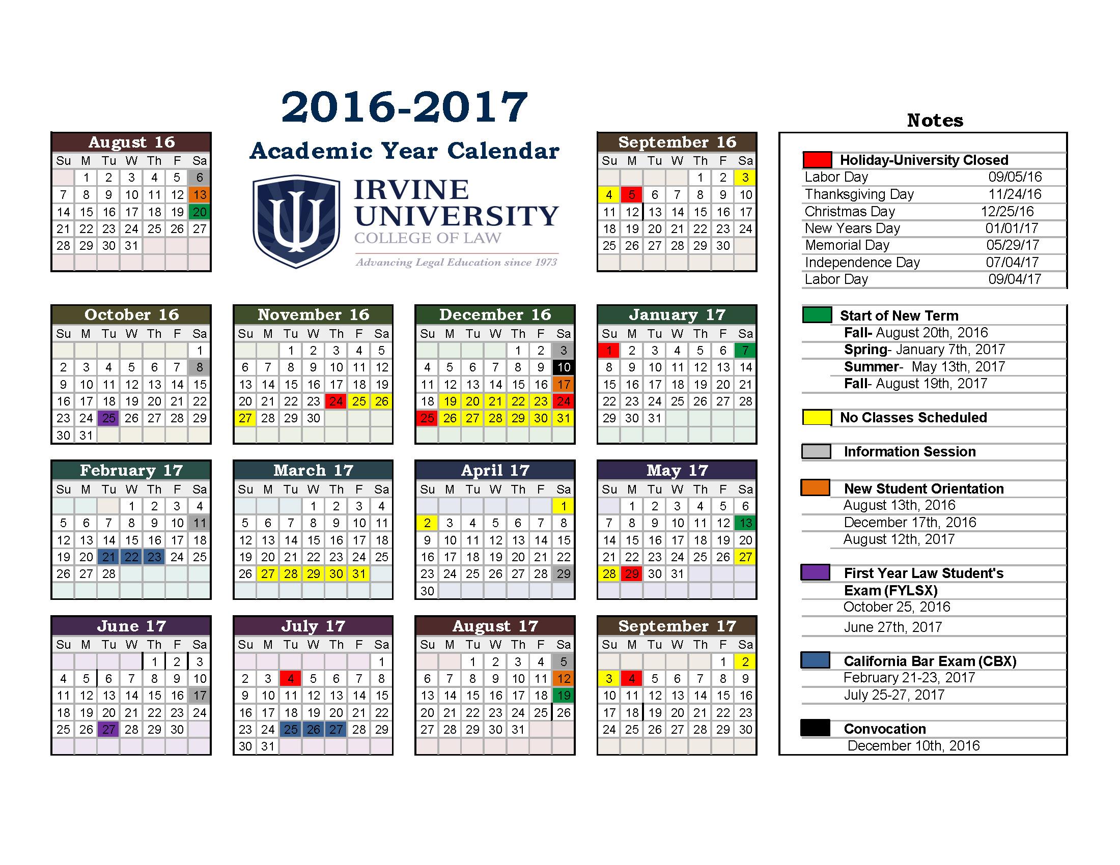 2016-2017-Academic-Calendar-Iu -