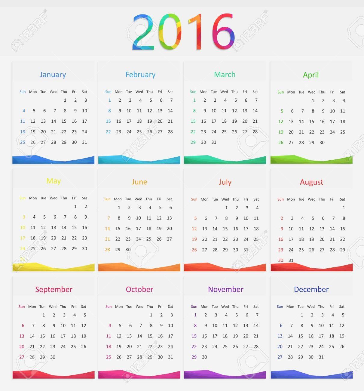 2016 Calendar Illustration. New Year Days