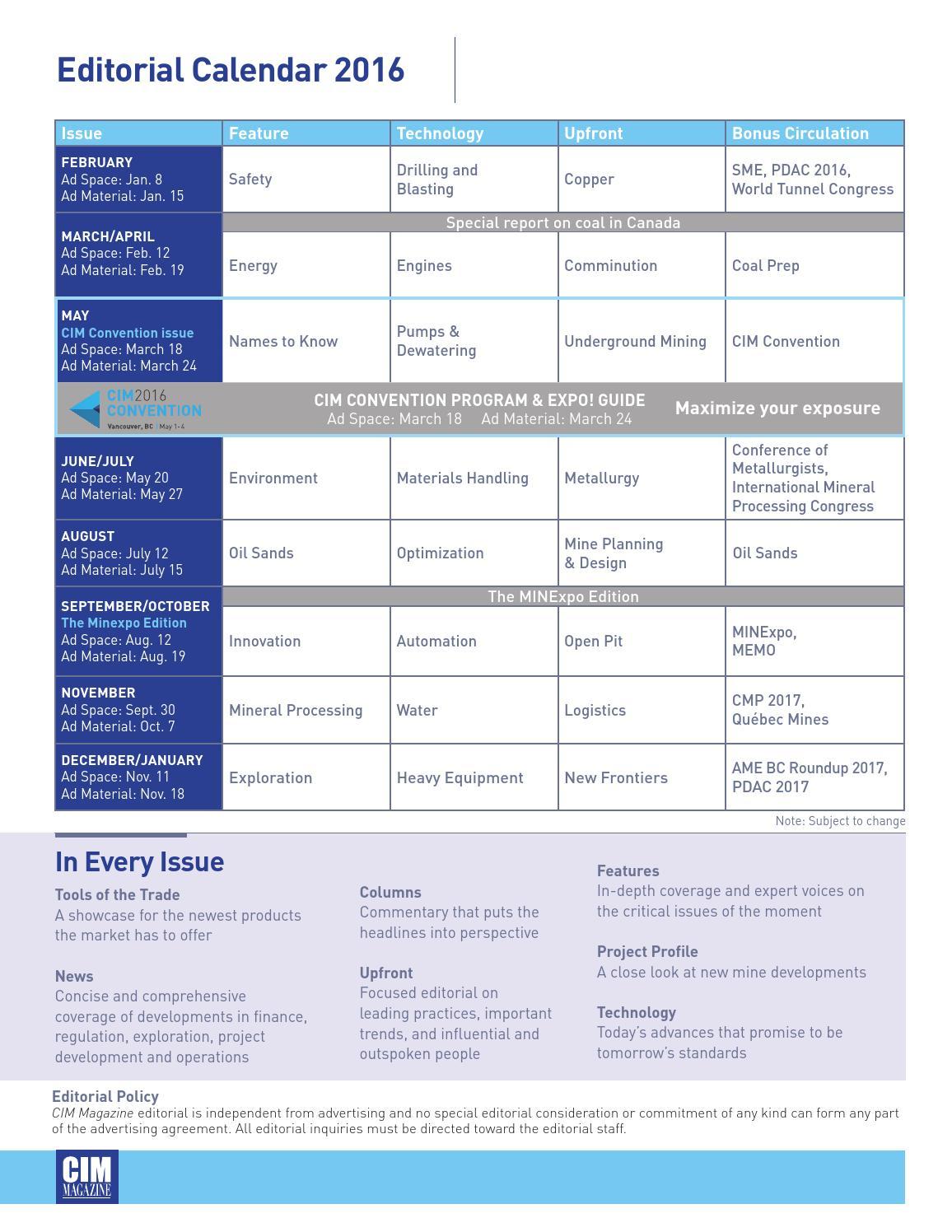 2016 Editorial Calendar & Rate Cardcim-Icm Publications