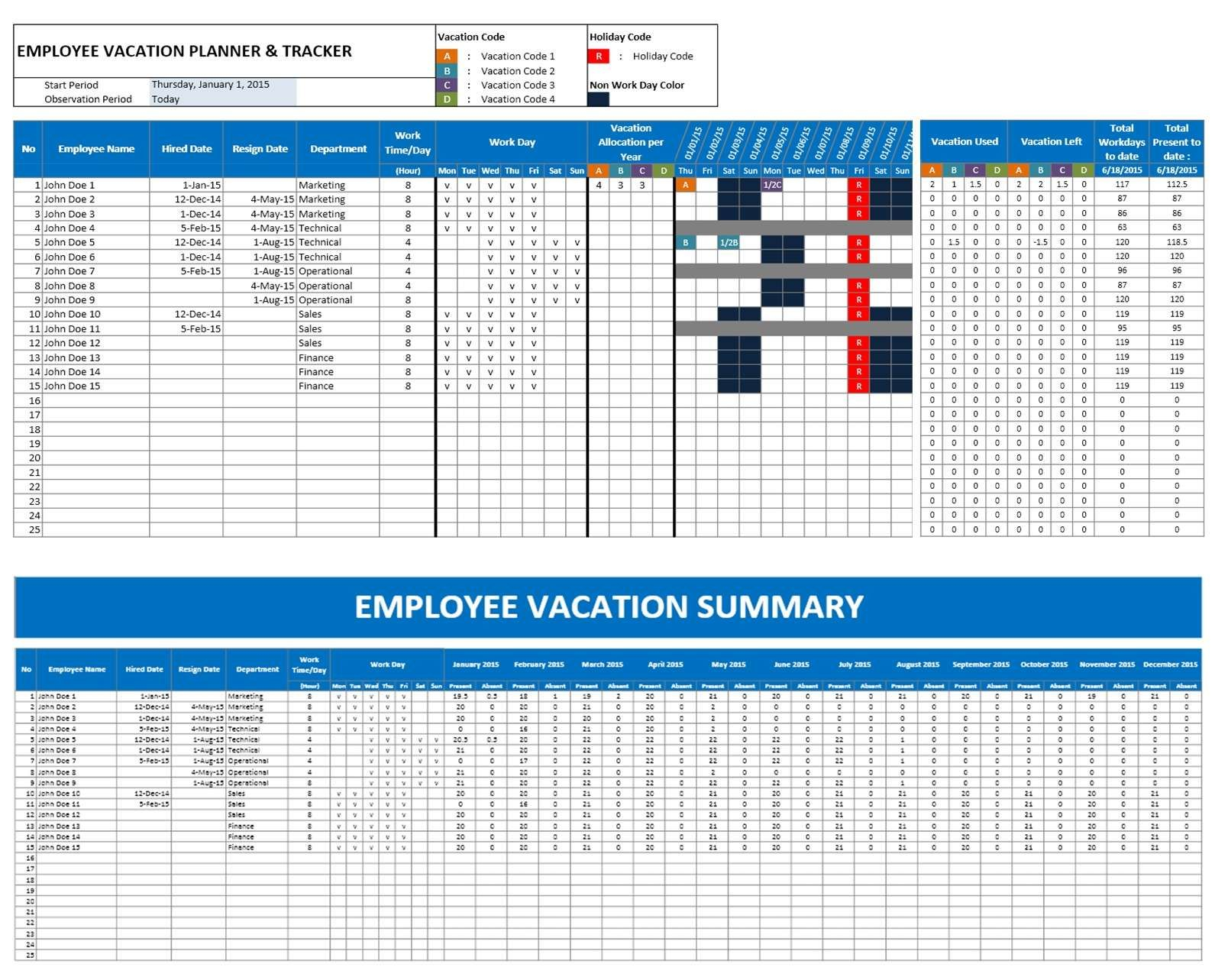 2016 Emploee Vacation Time Off Calendar Excel   Excel