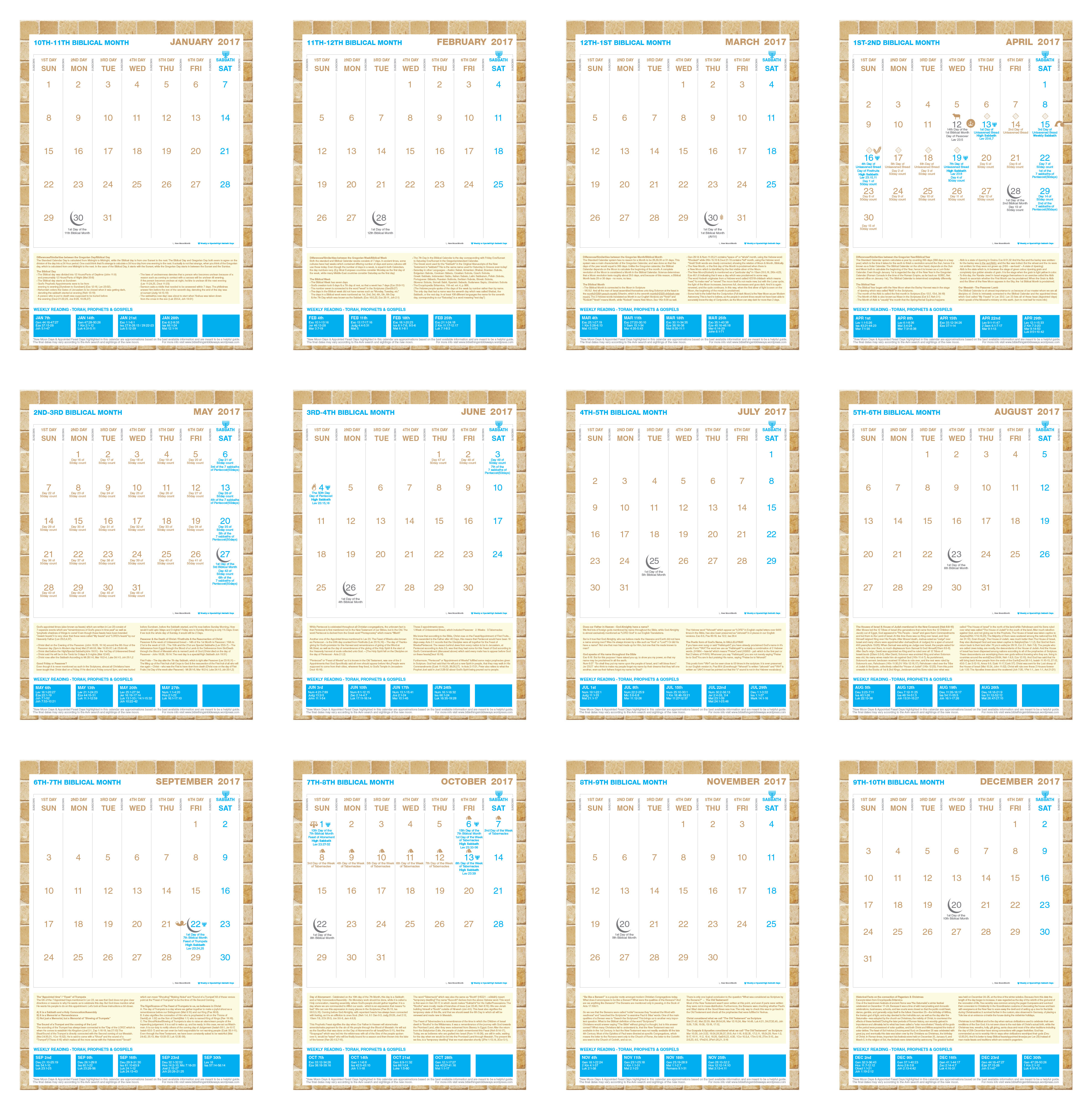 2017 Calendar With Biblical Appointed Feast Days, New Moons