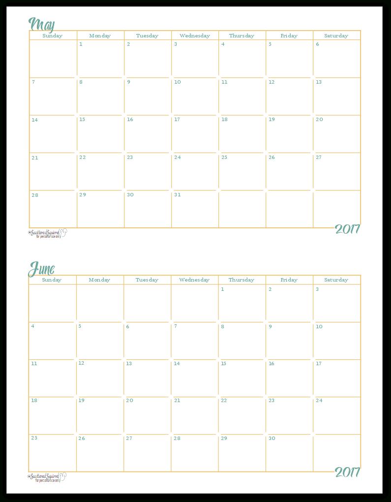 2017 Half-Size Monthly Calendar Printables | Страницы Для