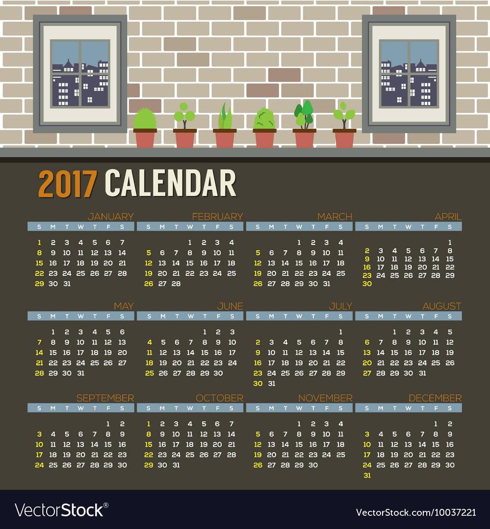 2017 Printable Calendar Starts Sunday