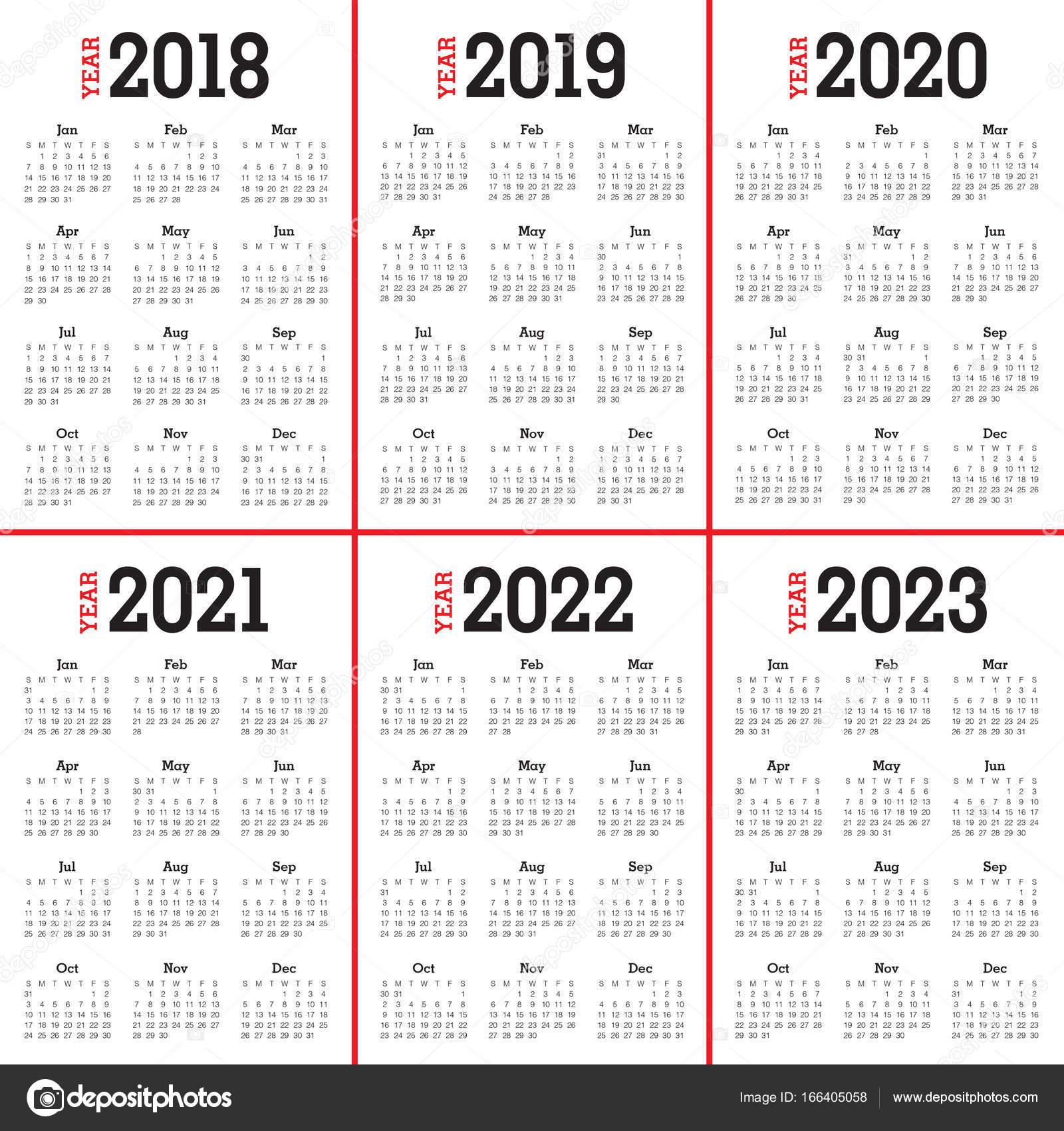 2018 2019 2020 2021 2022 2023 Года Календарь Вектор