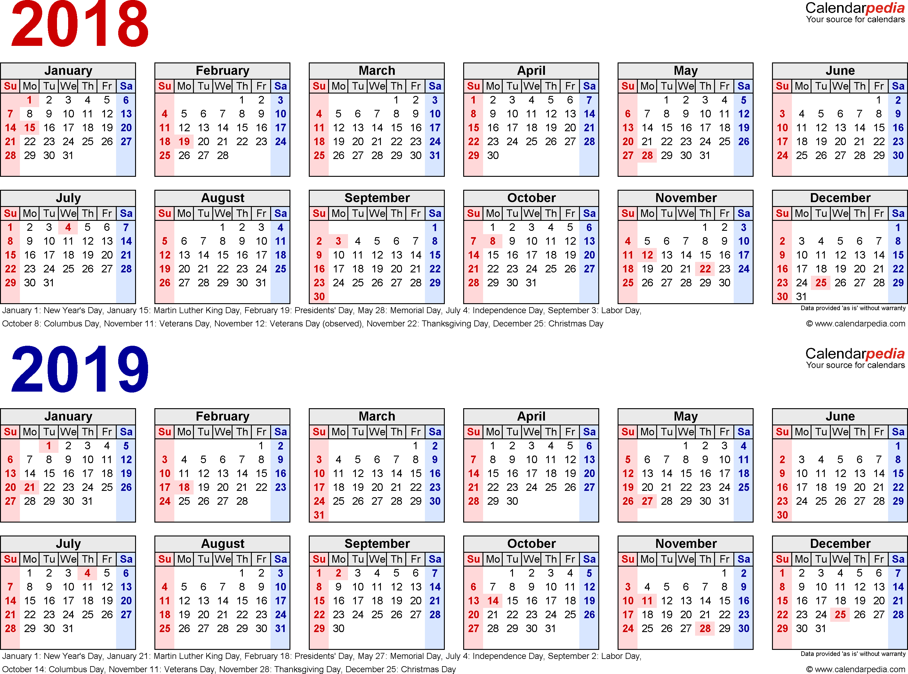 2018-2019 Two Year Calendar - Free Printable Pdf Templates
