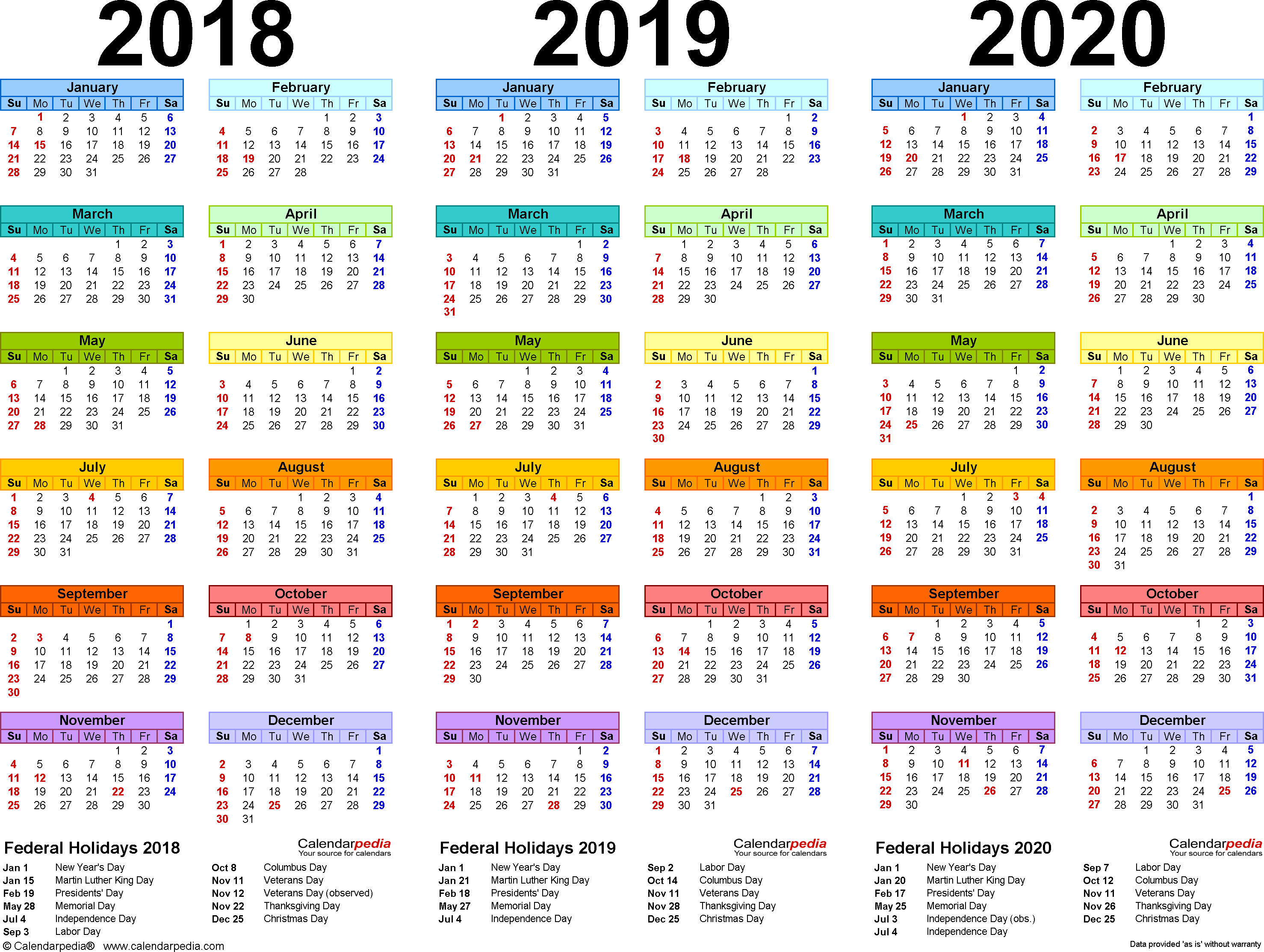 2018-2020 Three Year Calendar - Free Printable Pdf Templates