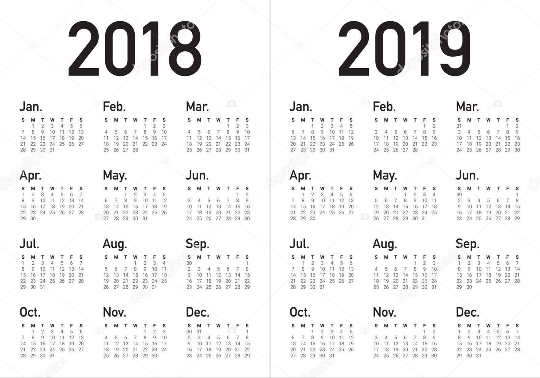 2018 And 2019 Two Year Calendars - Printable Monthly Calendar