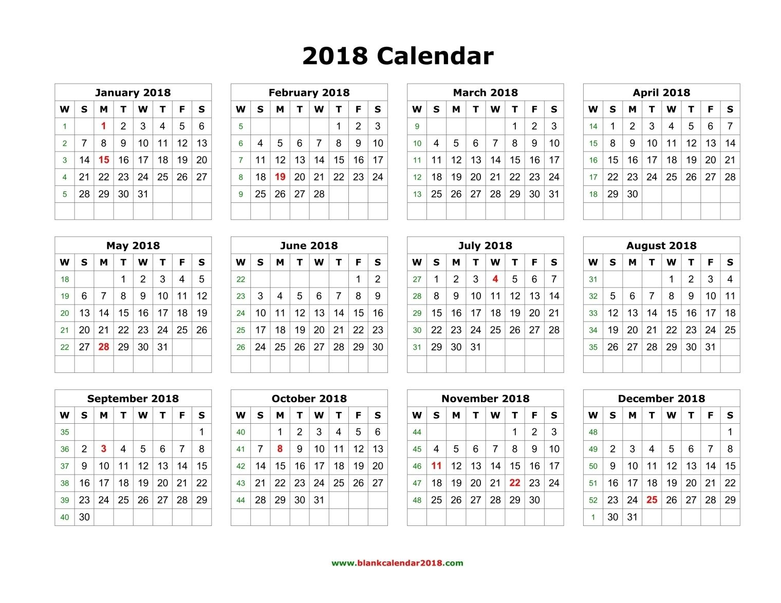 2018 Calendar Printable Yearly 2018 Calendar Blank Landscape