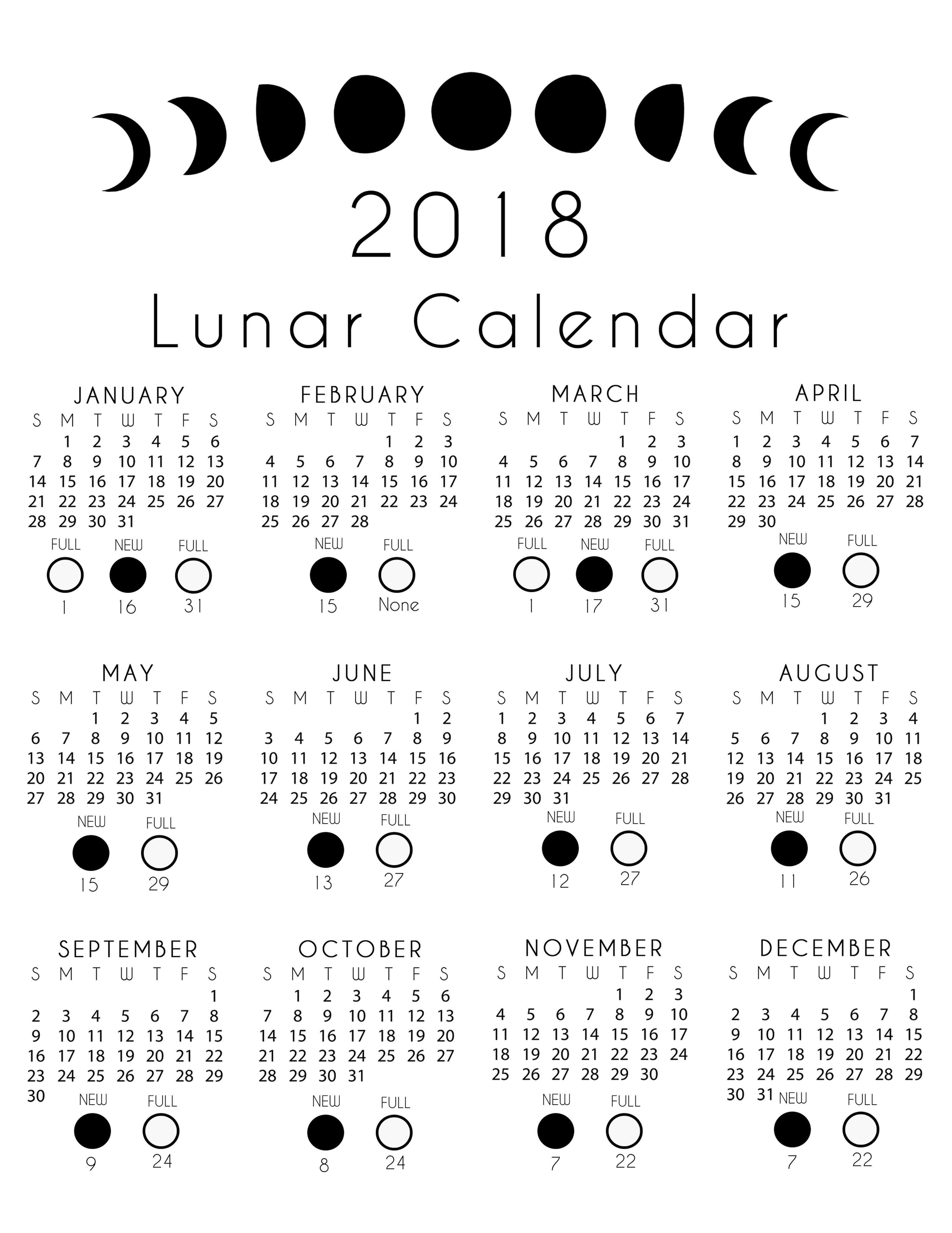2018 Lunar Calendar Free Printout | Moon Calendar, Lunar