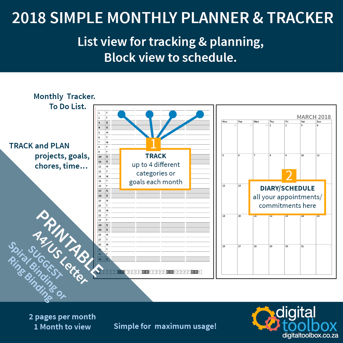 2018 Printable Diary Planner. Block View And List View