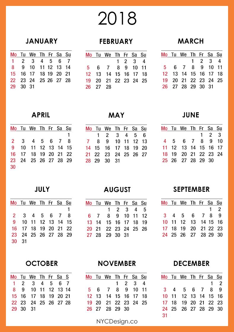 2018 Printable Monthly Calendar | 2018 Calendar Printable