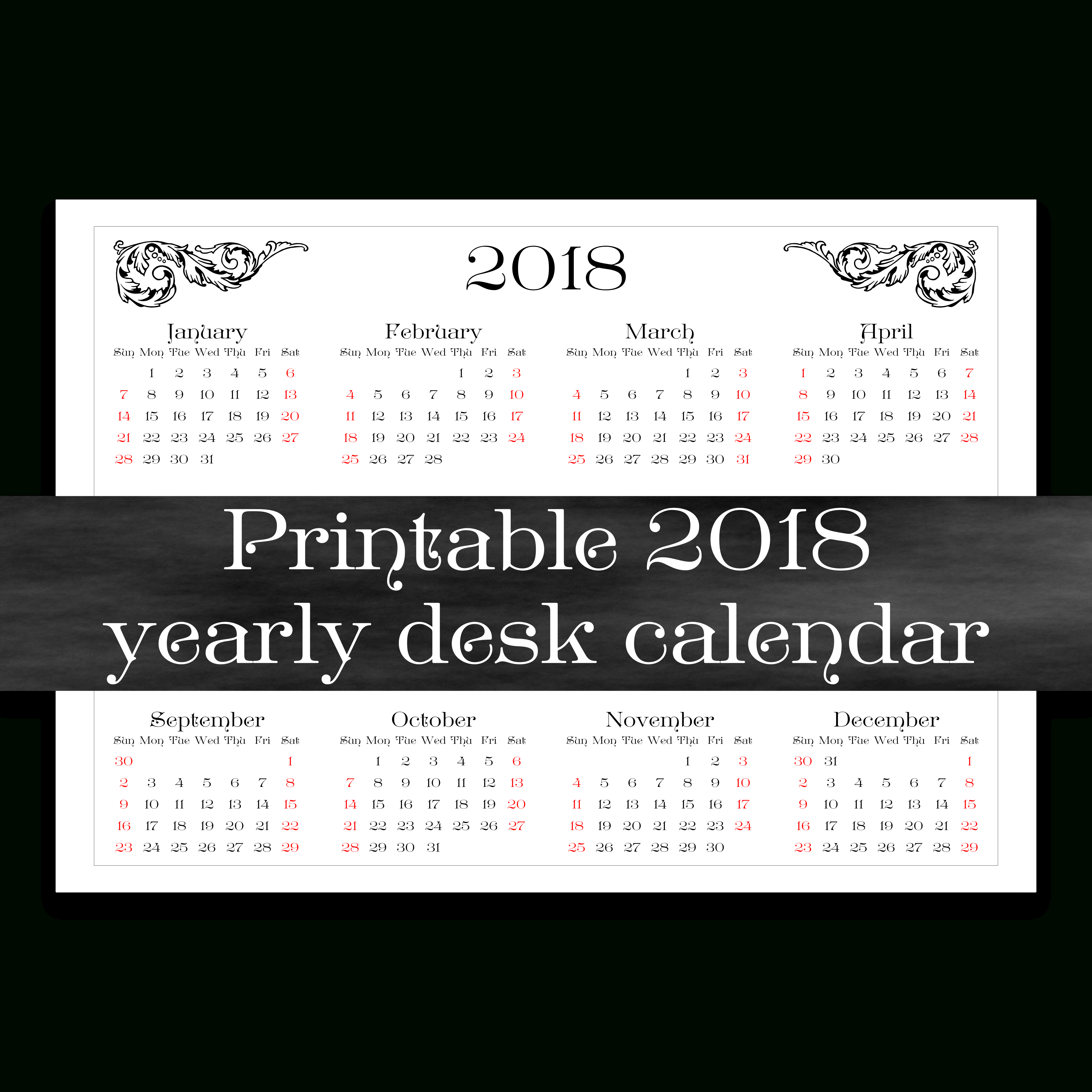 2018 Printable Yearly Desk Calendar | Year At A Glance | A4