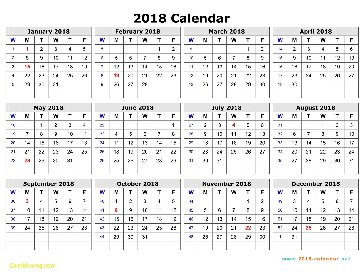 2018 Weekly Calendar With Week Numbers July To December