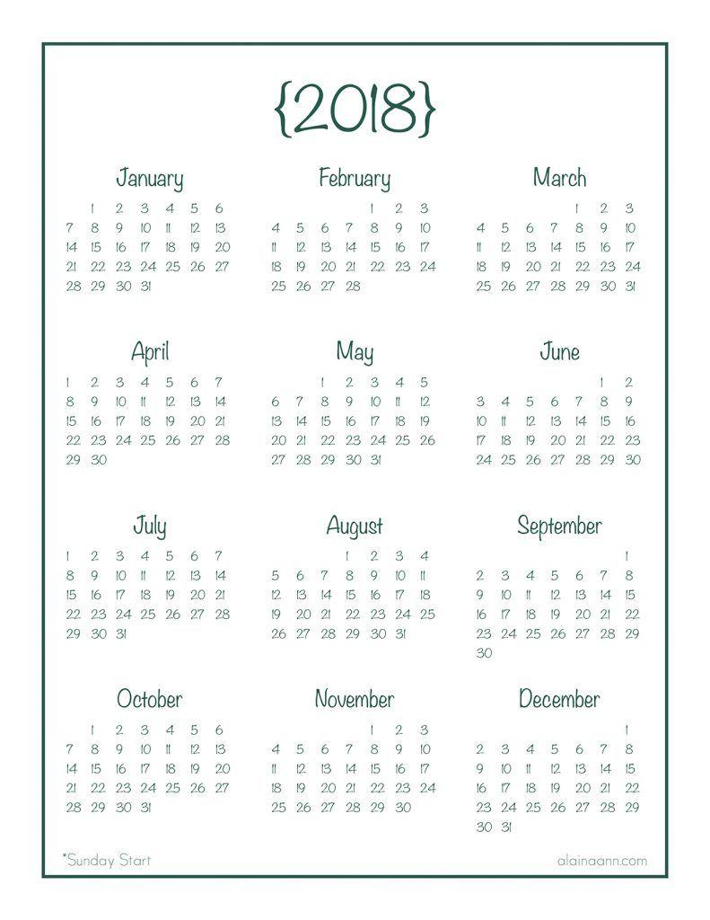 2018 Year-At-A-Glance Calendar {Free Printable} | At A
