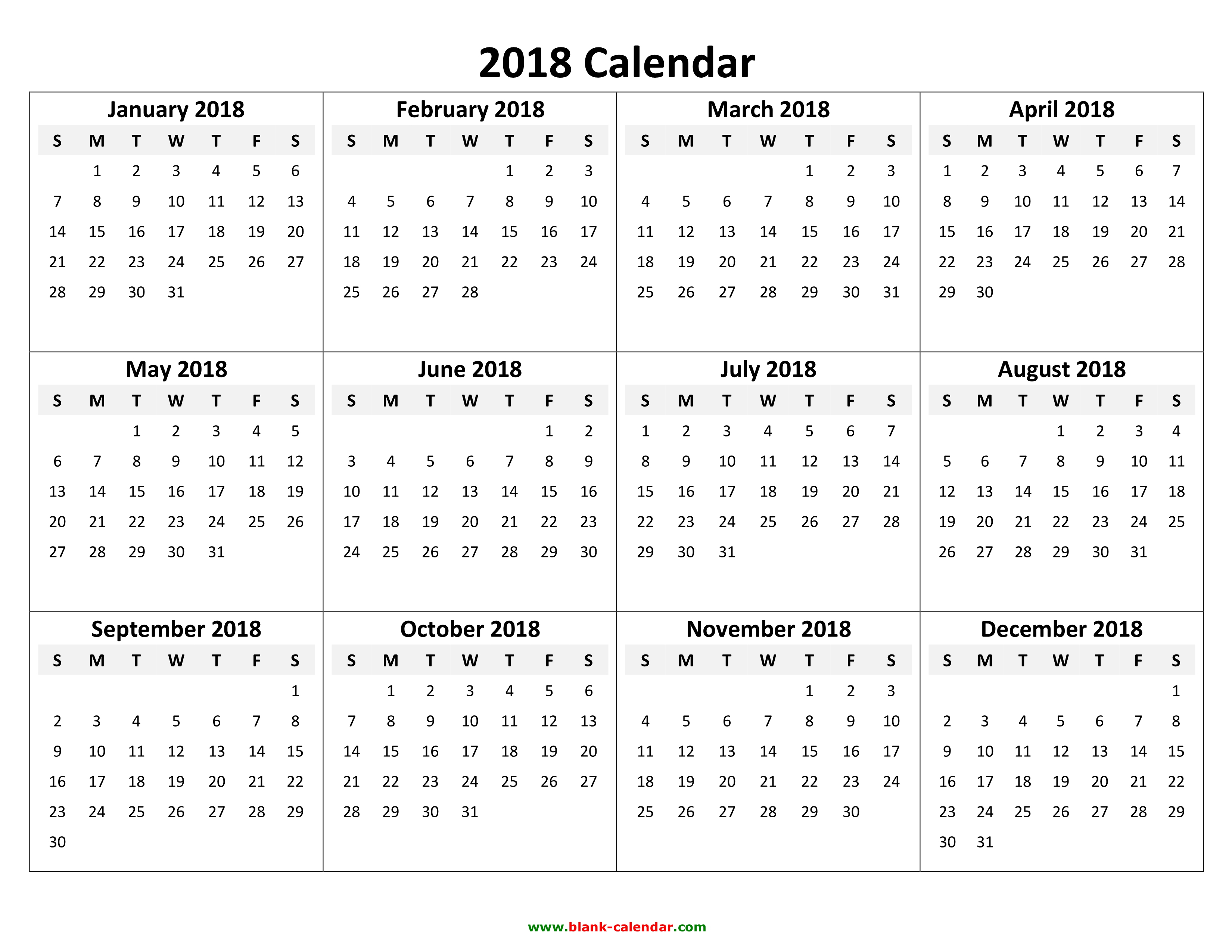 2018 Yearly Calendar - Free Download