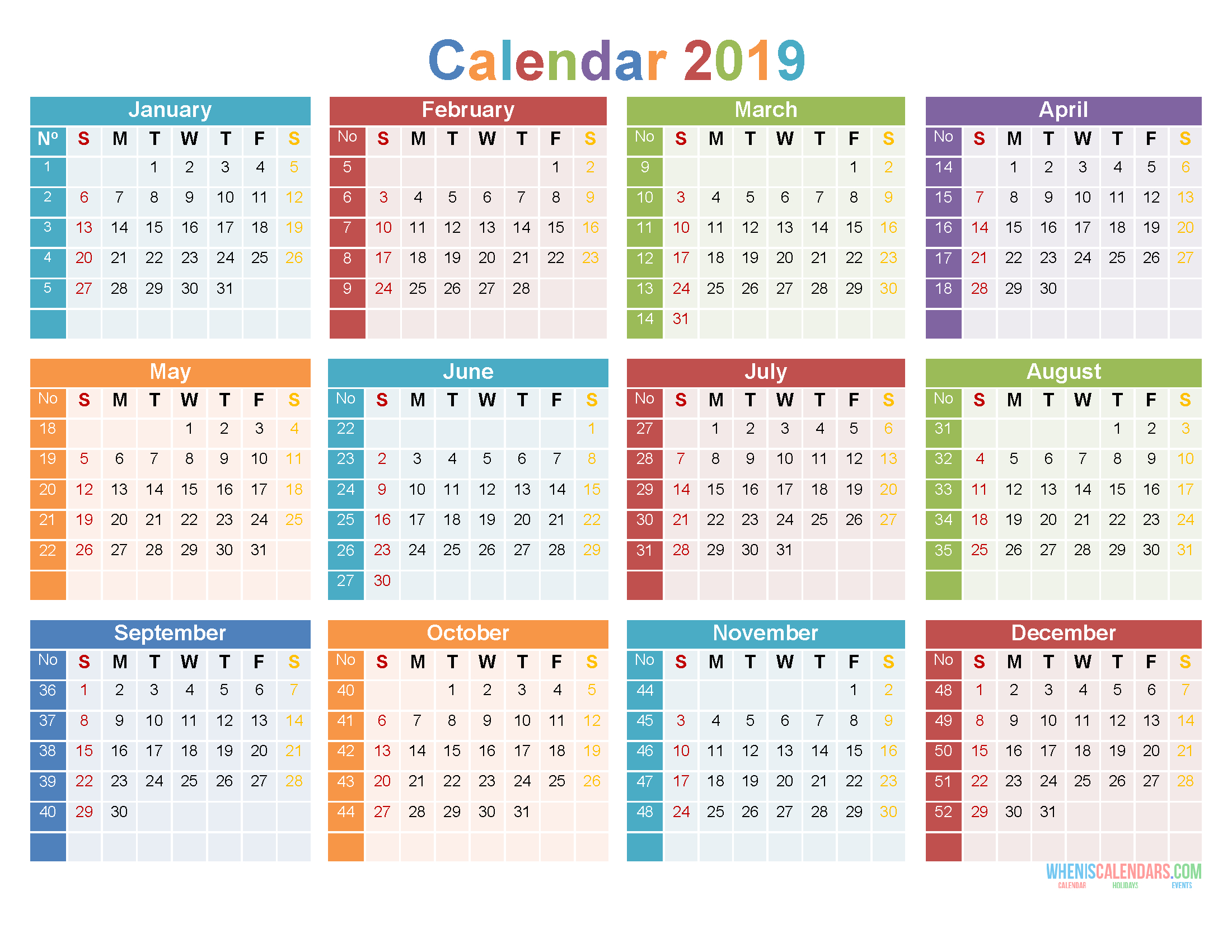 2019 12 Month Calendar Template Large Print Calendar Pdf