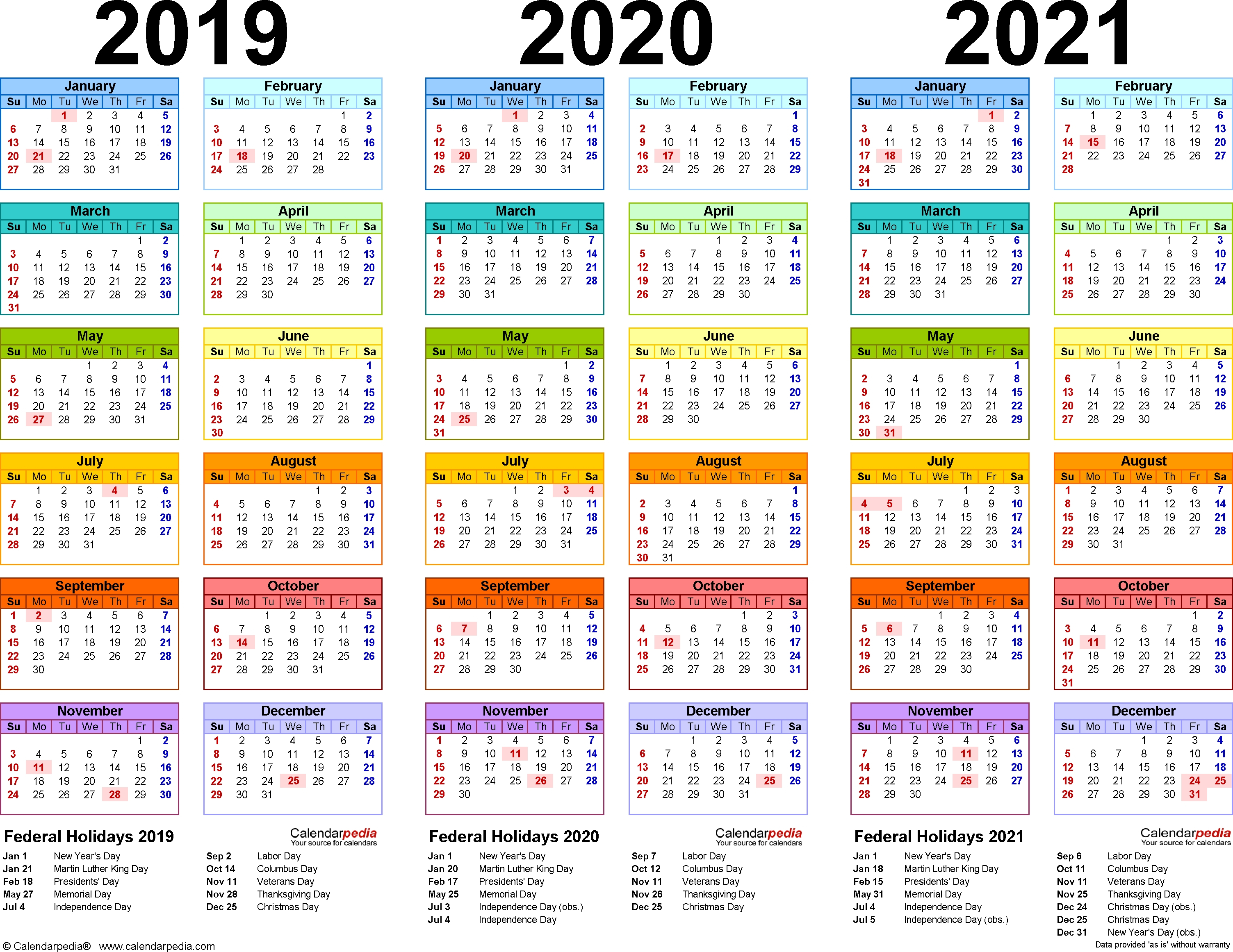 2019/2020/2021 Calendar – 4 Three-Year Printable Pdf