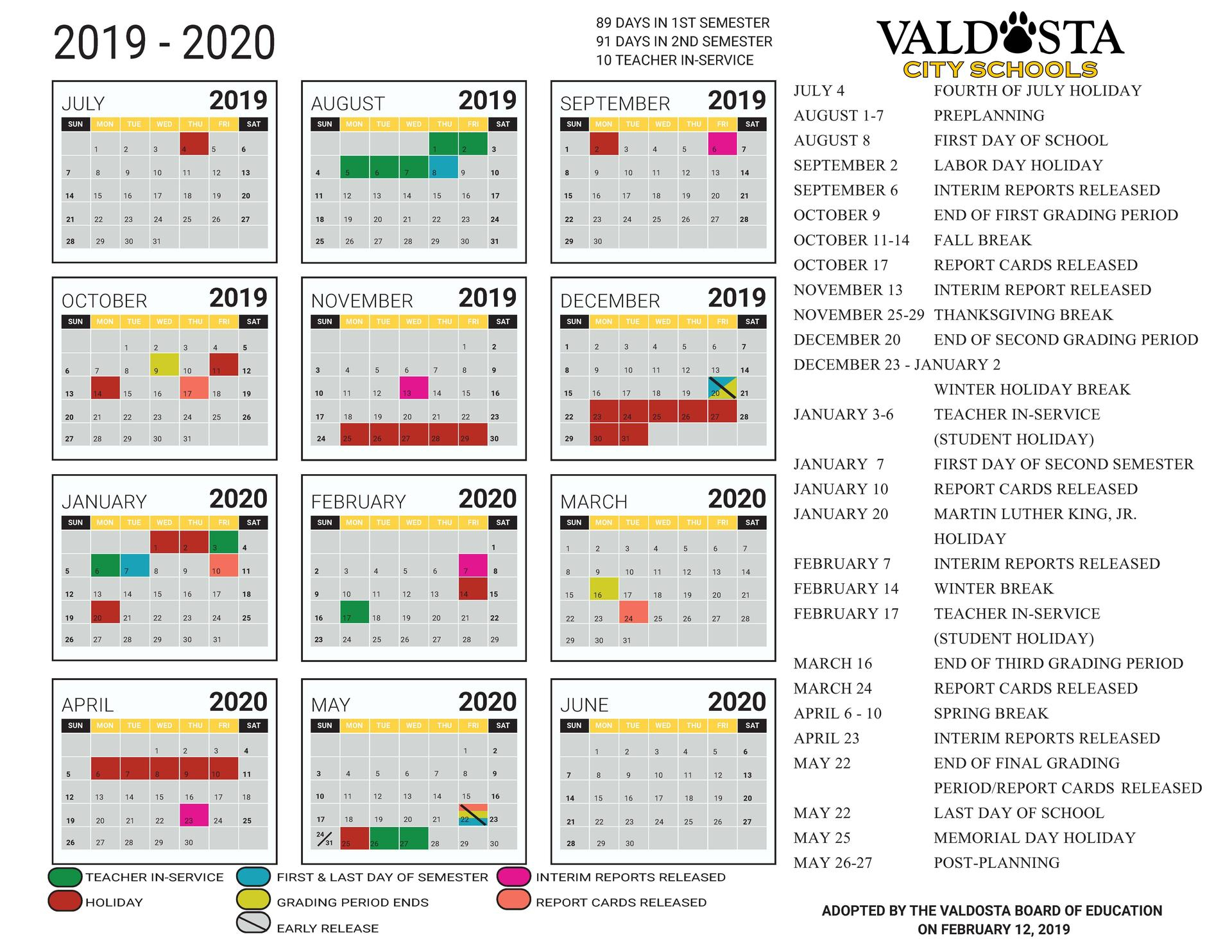 2019 - 2020 Academic Calendar – Student Support Services