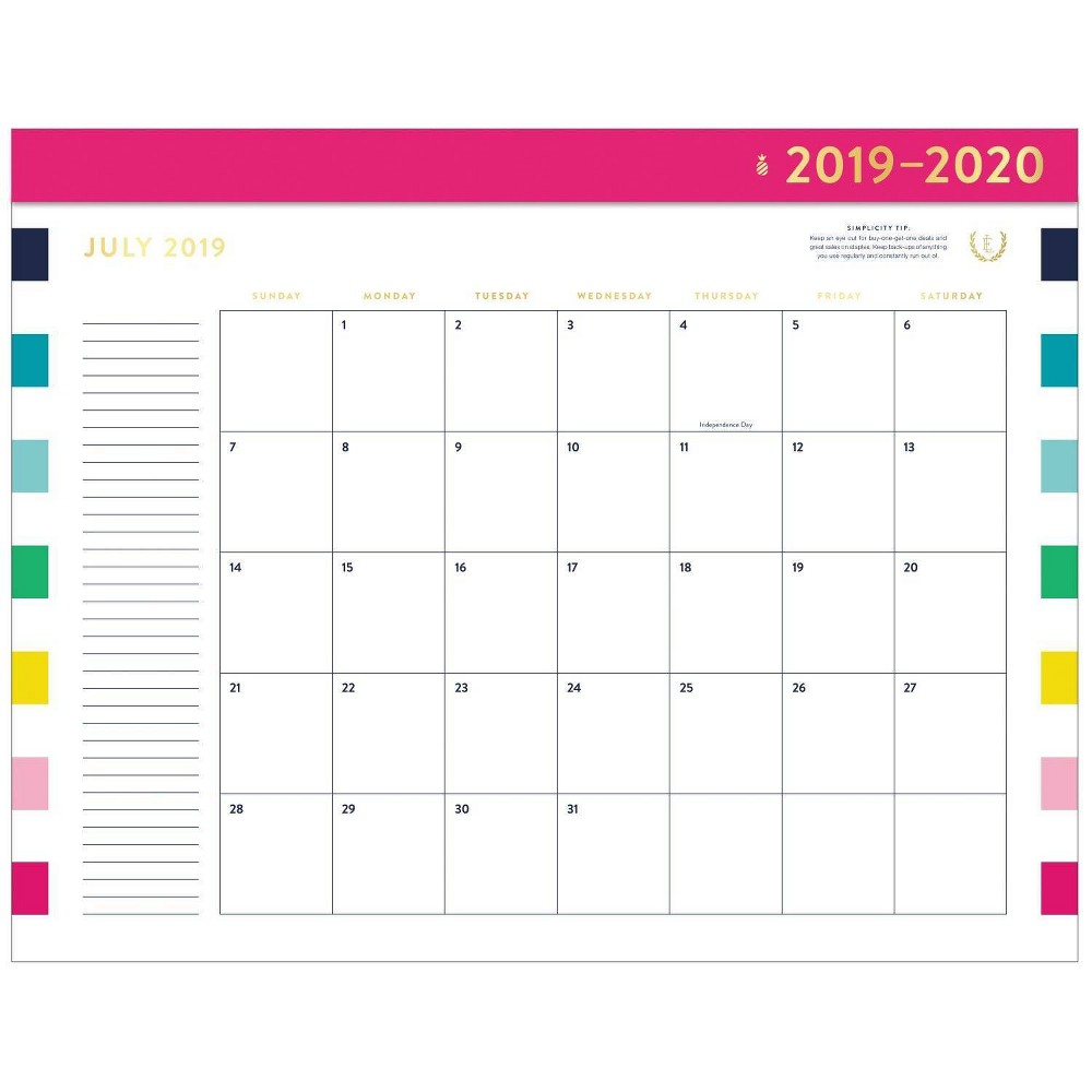 2019-2020 Academic Desktop Calendar Rainbow - Emily Ley In