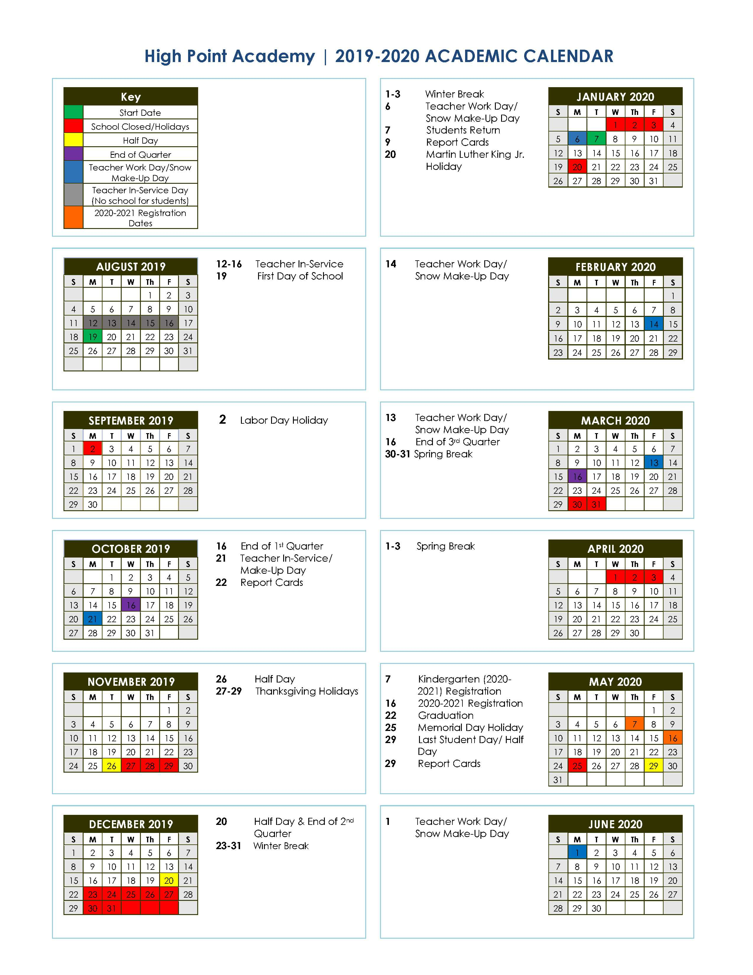 2019-2020 Academic School Calendar | High Point Academy