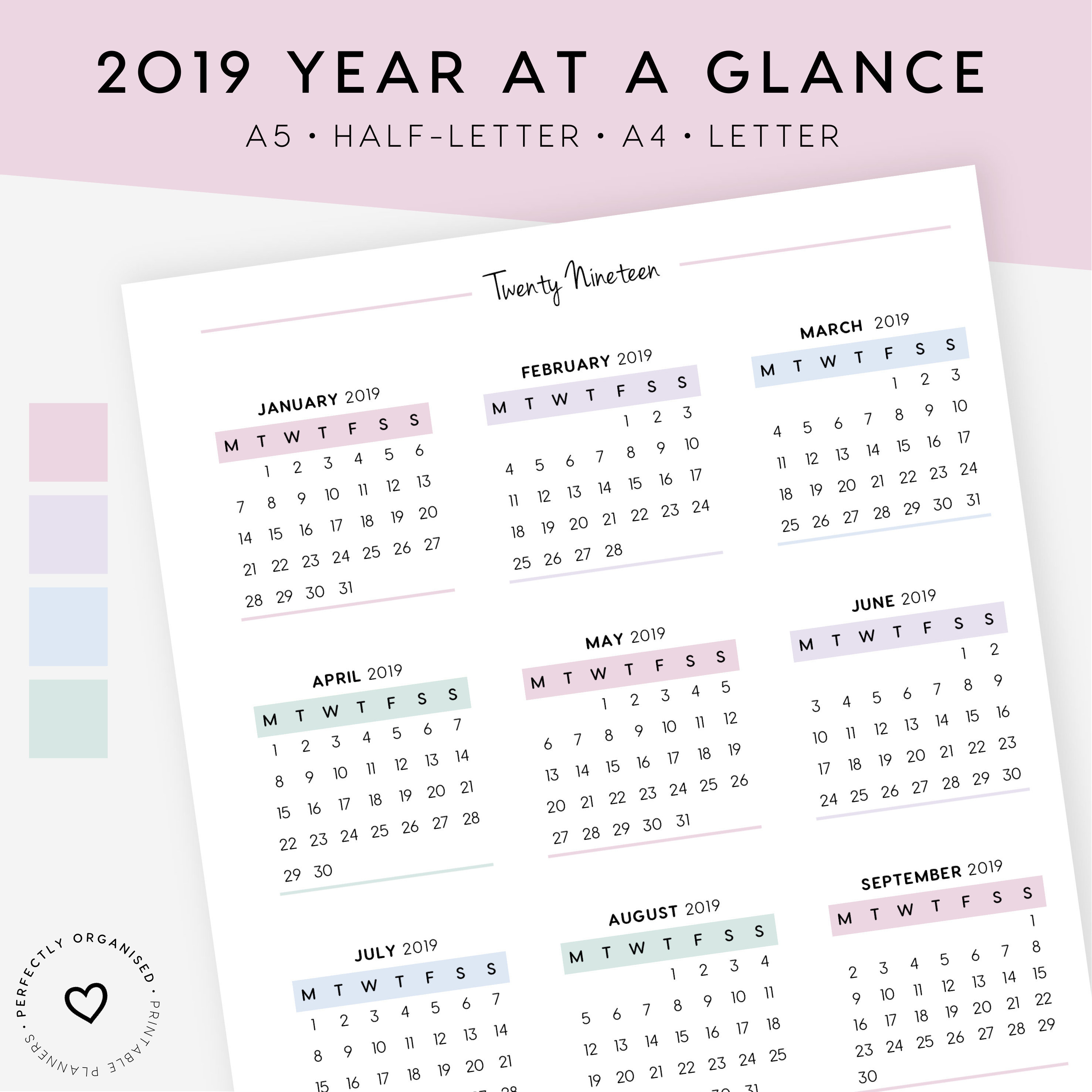 2019 & 2020 Calendar And Important Dates Printable | 2019 Calendar, 2020  Calendar, 2020 Important Dates, A5, Half-Letter, A4, Letter