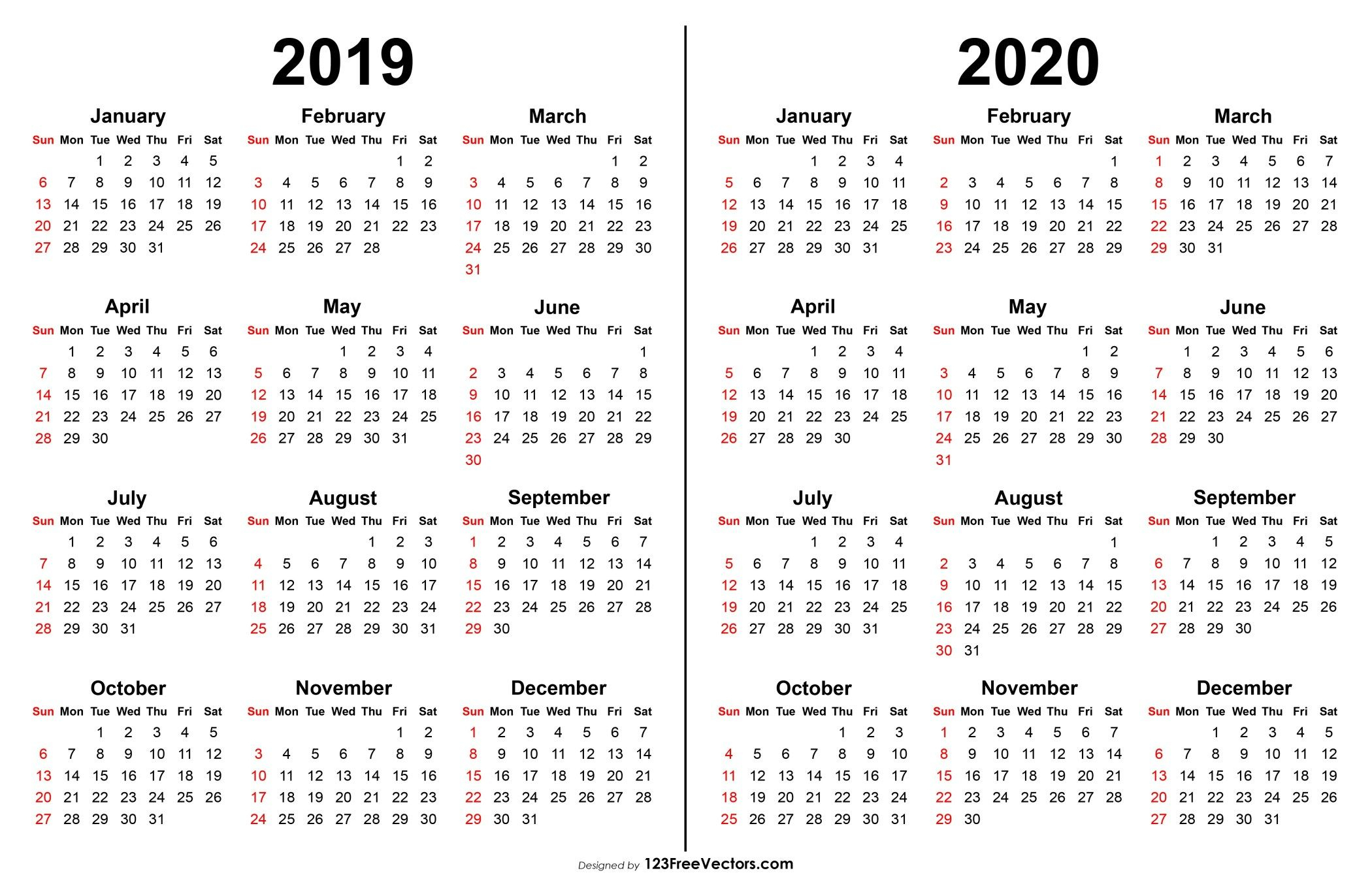 2019 2020 Calendar | Printable Yearly Calendar, Print