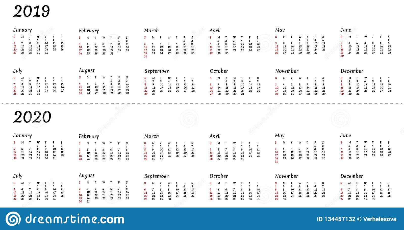2019 2020 Calendar Year - Vector Illustration. The Week