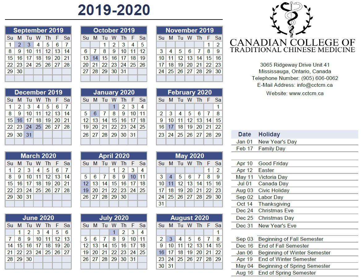 2019-2020 Calendar |