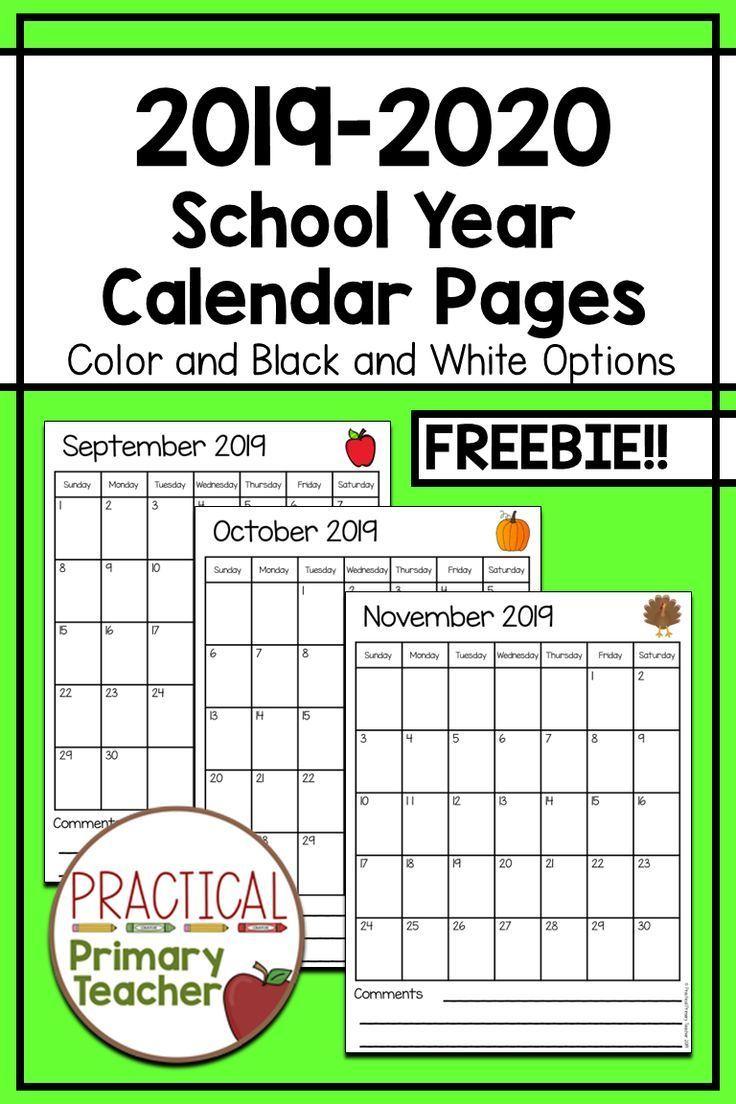 2019-2020 Calendars Free | Classroom Calendar, Kindergarten