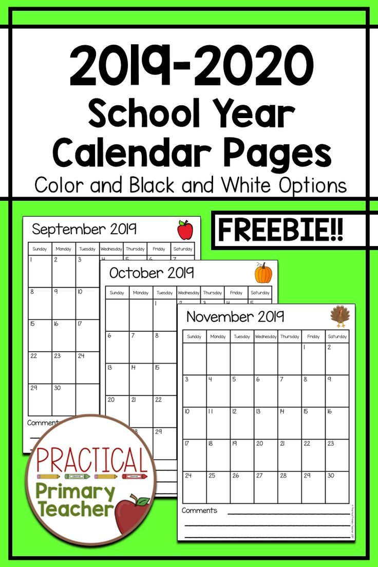 2019-2020 Calendars Free | Classroom Calendar, Teacher