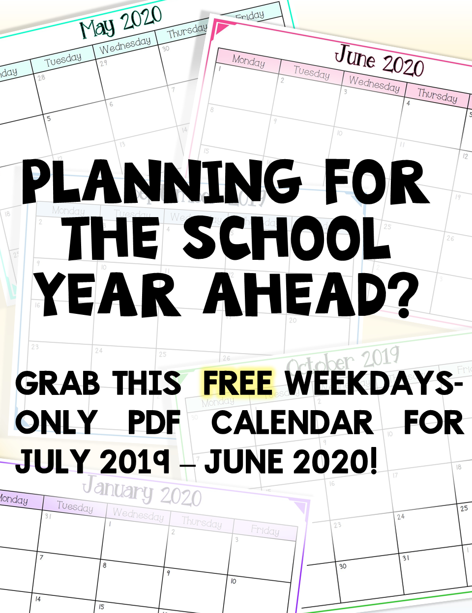 2019-2020 Free School Year Calendar (Weekdays Only) | School