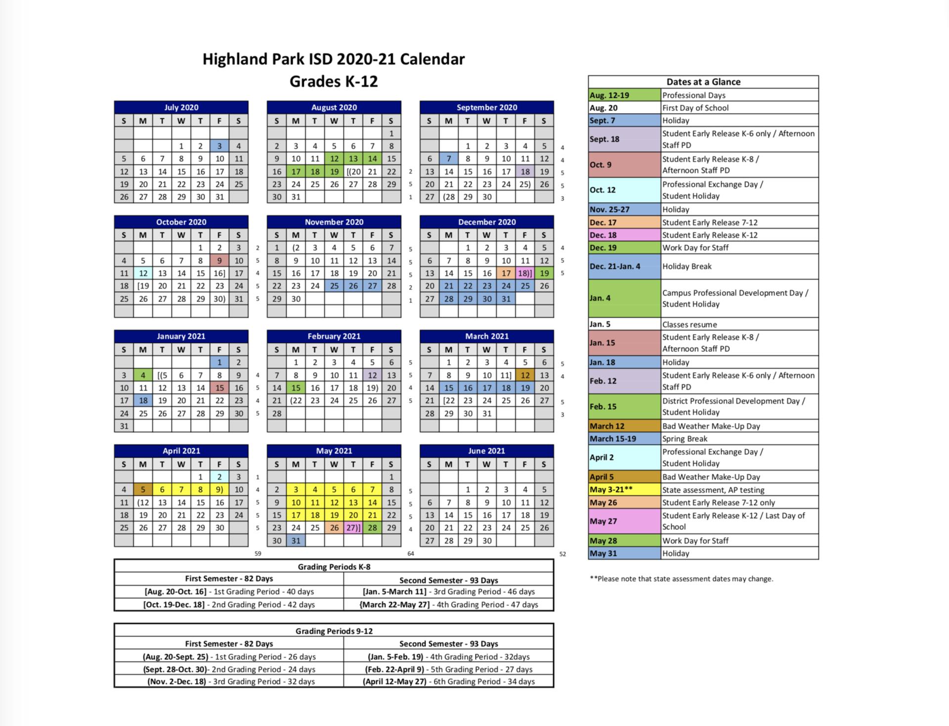 2019-2020 Hpisd Calendar – Calendars – Highland Park