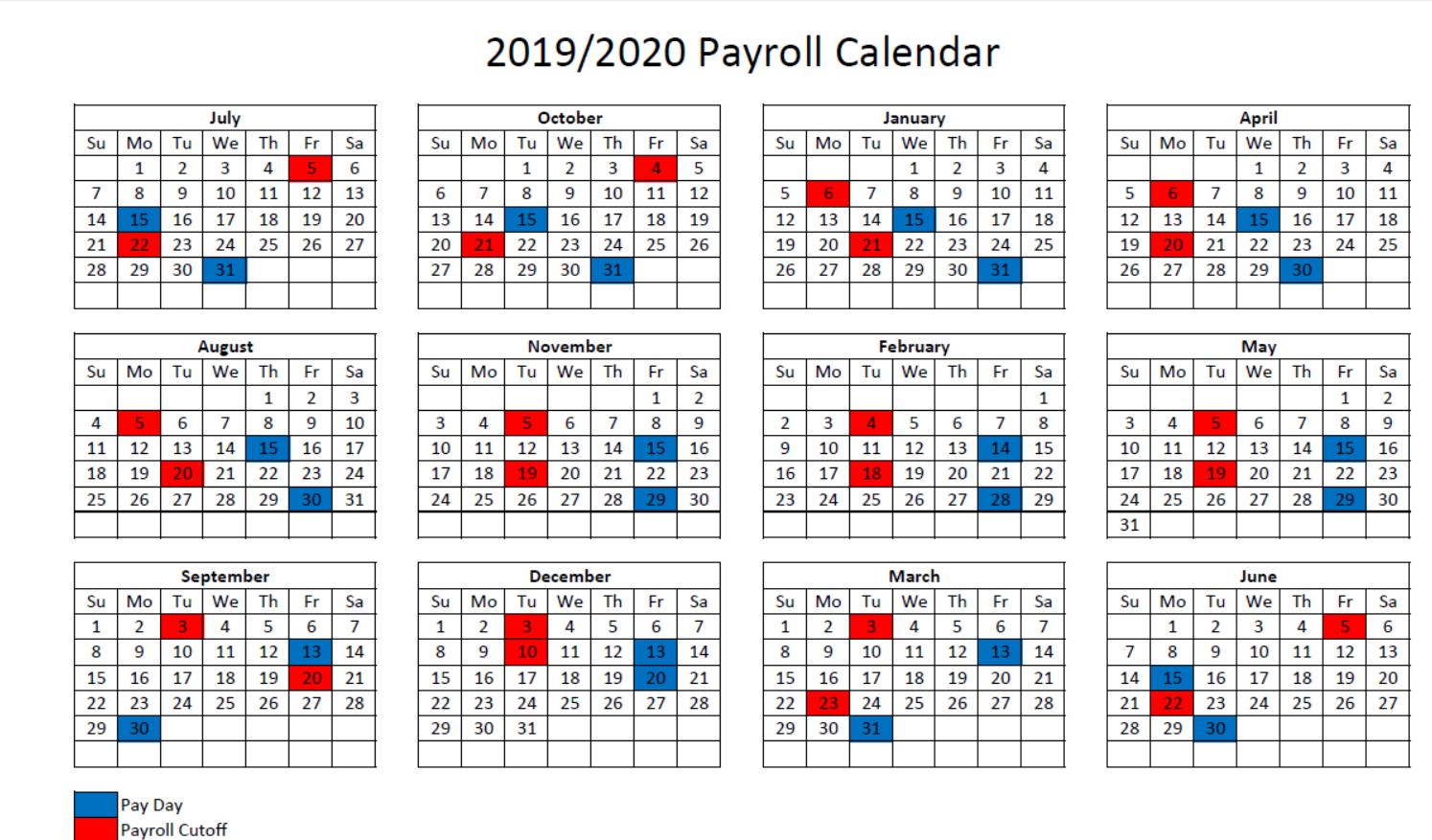 2019-2020 Payroll Calendar - Maury County Public Schools